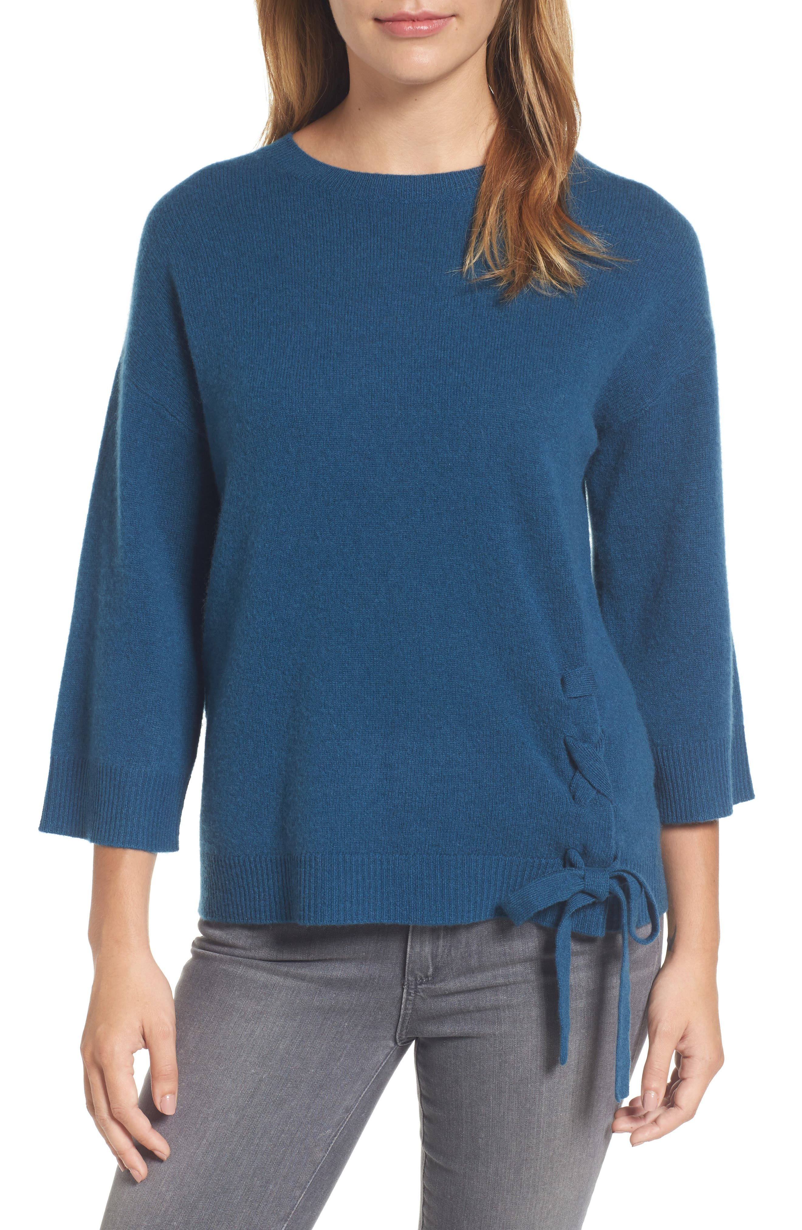 Side Tie Wool and Cashmere Sweater,                             Main thumbnail 3, color,