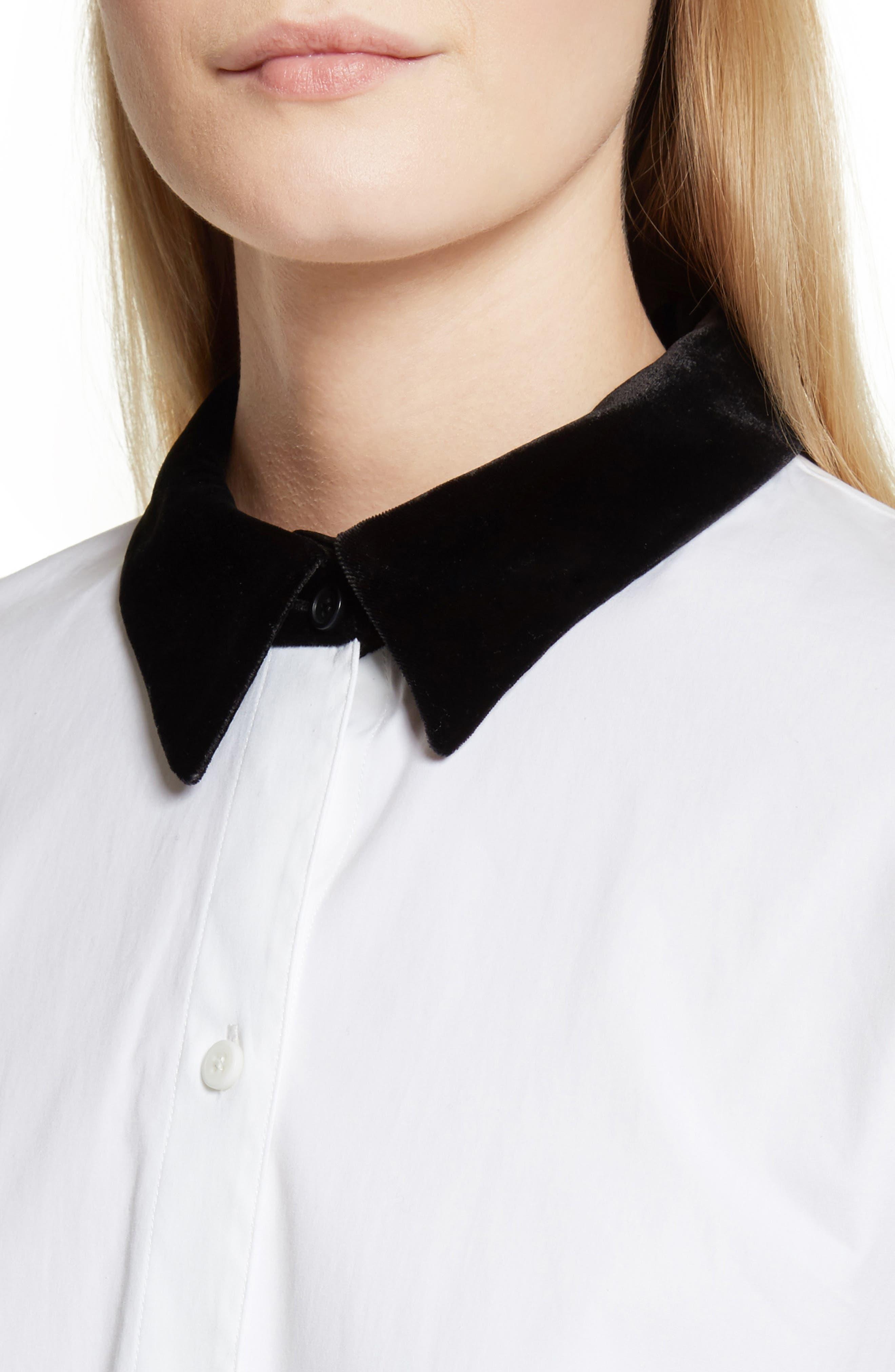 Velvet Collar Stretch Cotton Shirt,                             Alternate thumbnail 4, color,