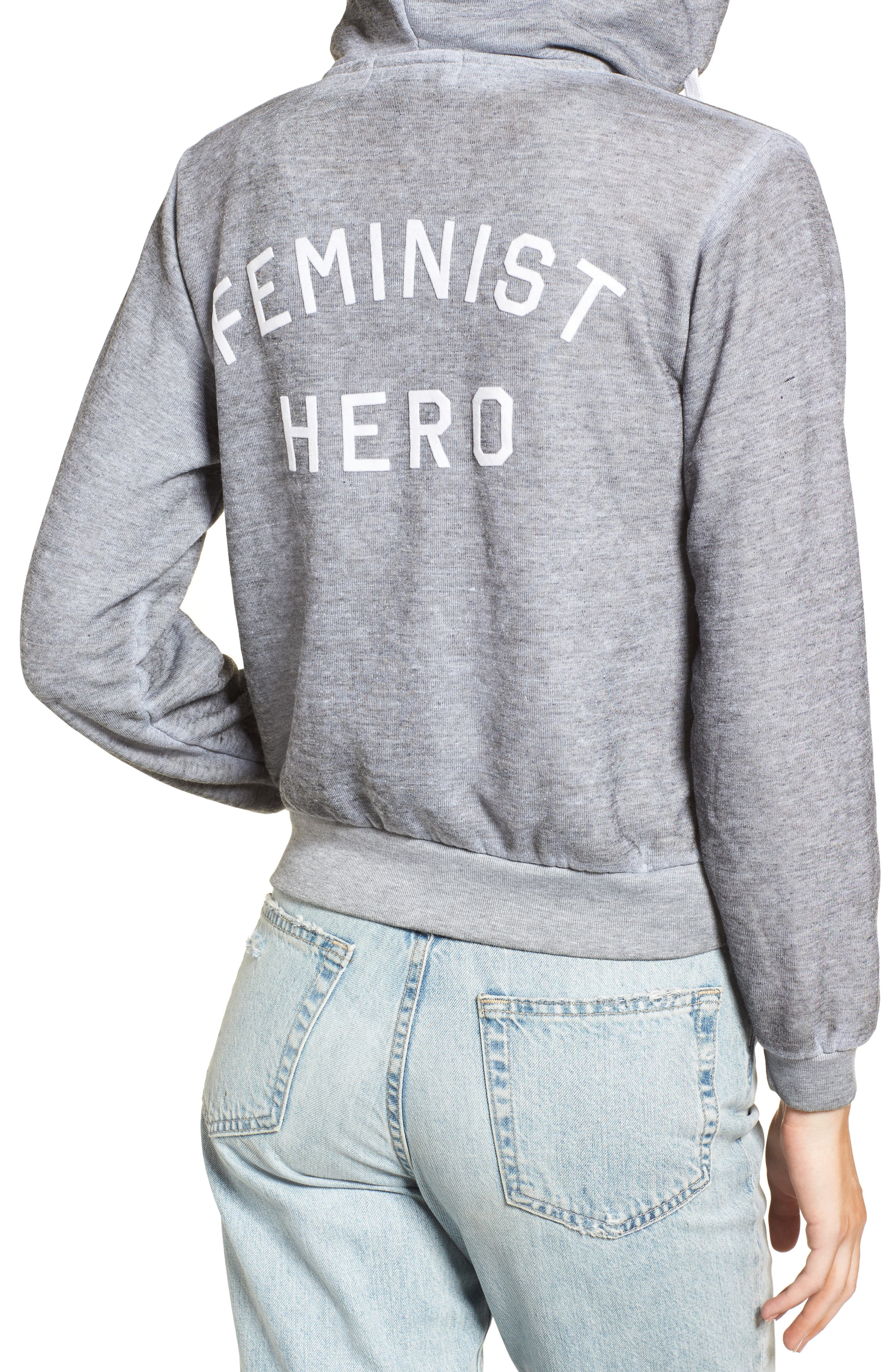 Regan Feminist Hero Zip Hoodie,                             Alternate thumbnail 4, color,                             020