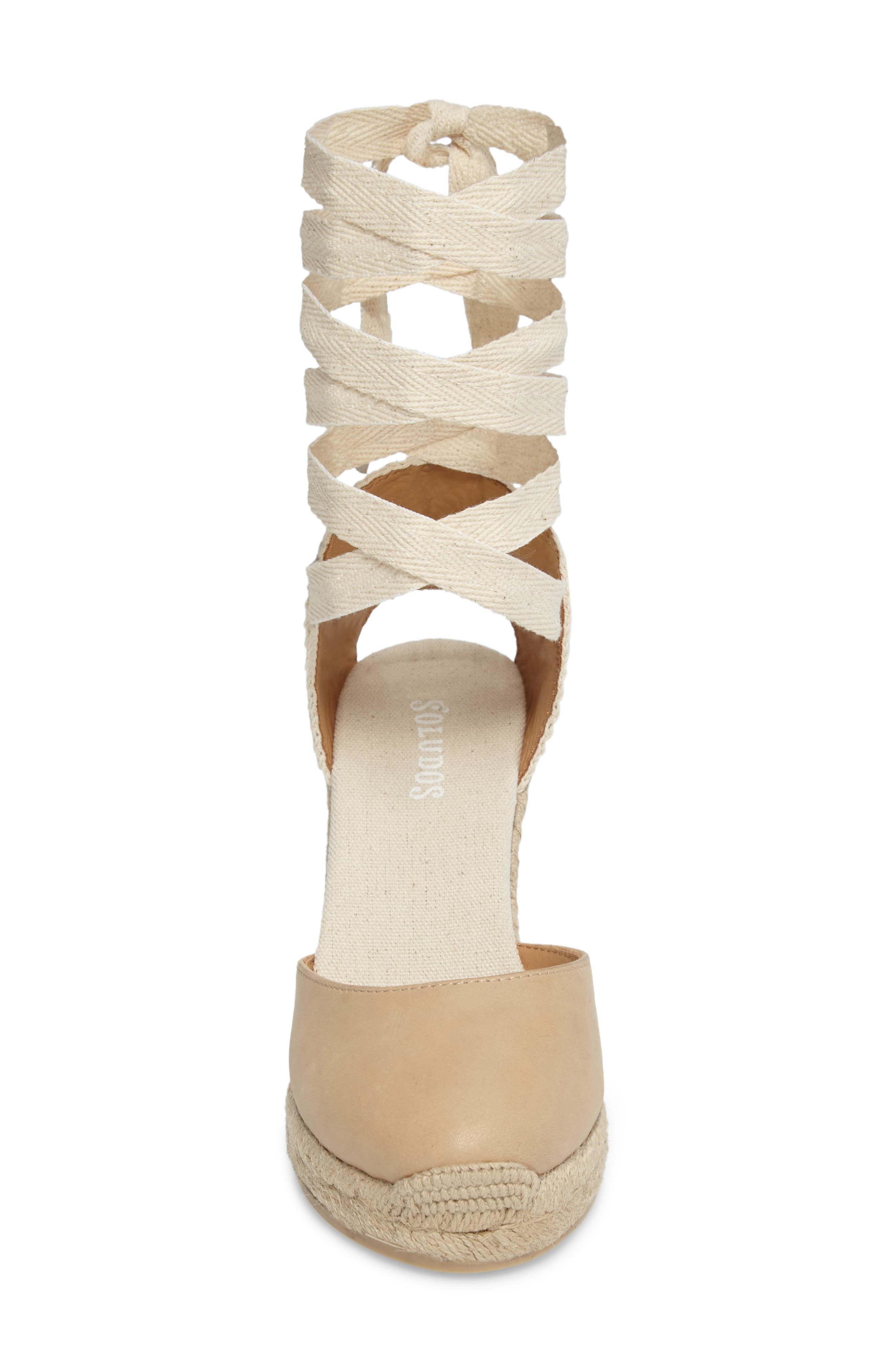 Lace-Up Espadrille Wedge,                             Alternate thumbnail 4, color,                             250