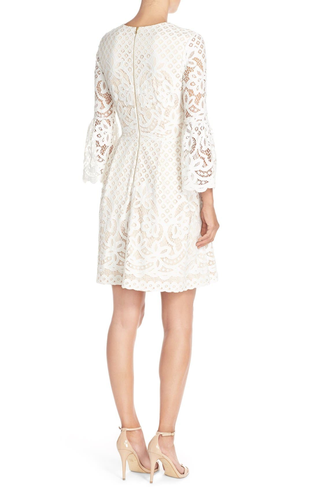 Bell Sleeve Fit & Flare Dress,                             Alternate thumbnail 9, color,                             IVORY