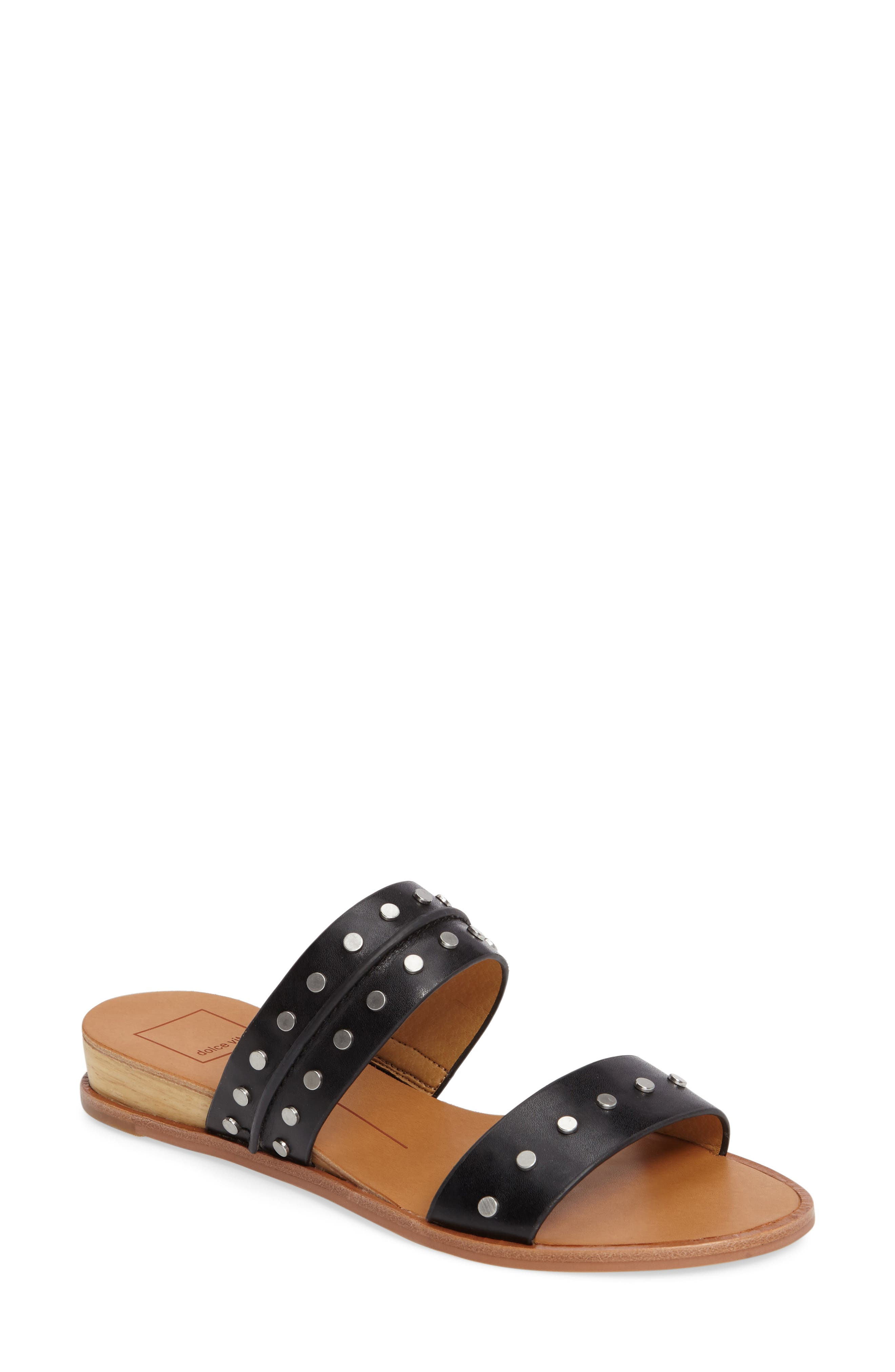 Pacey Studded Wedge Sandal,                             Main thumbnail 1, color,                             001