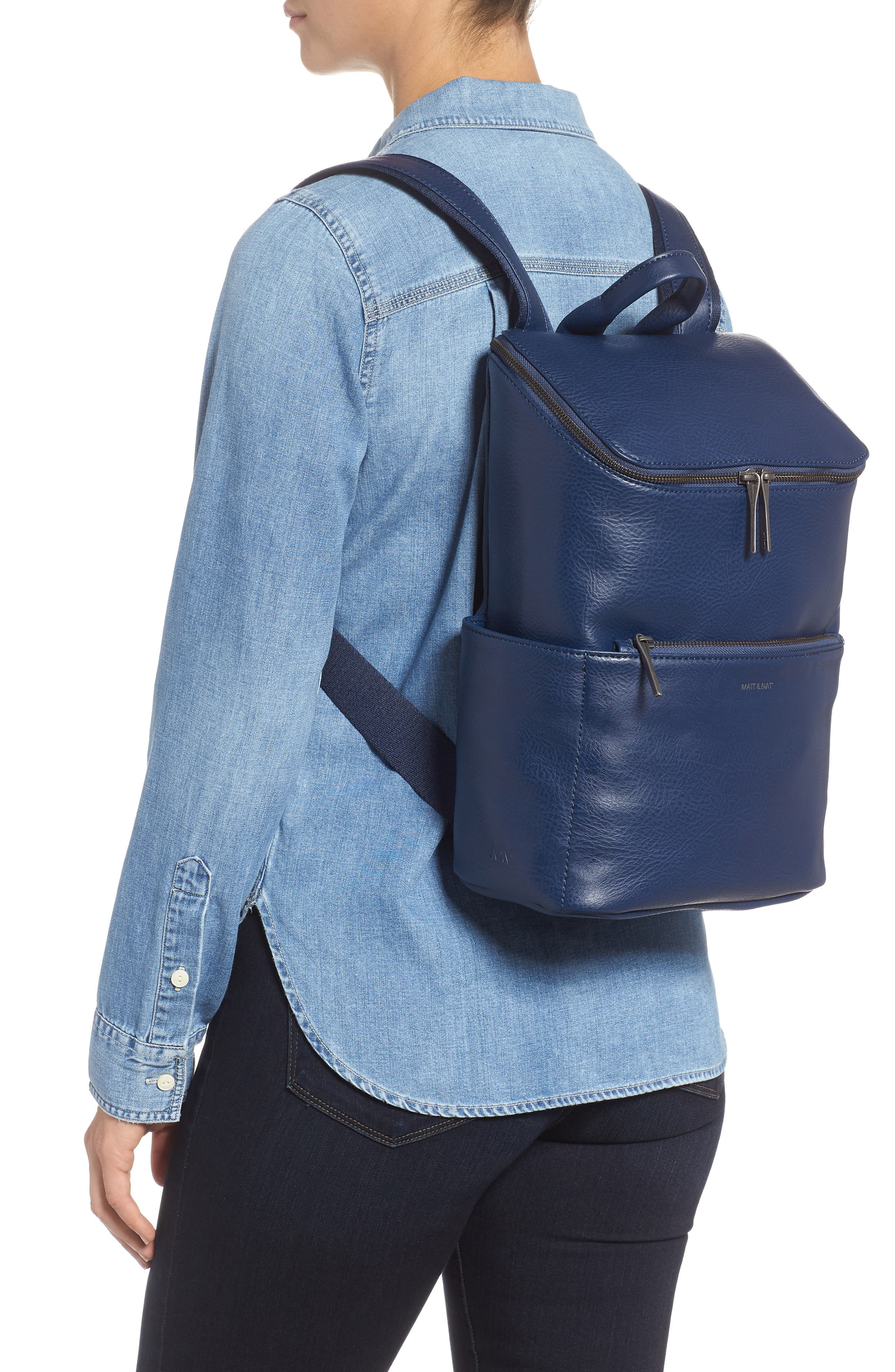 'Brave' Faux Leather Backpack,                             Main thumbnail 2, color,