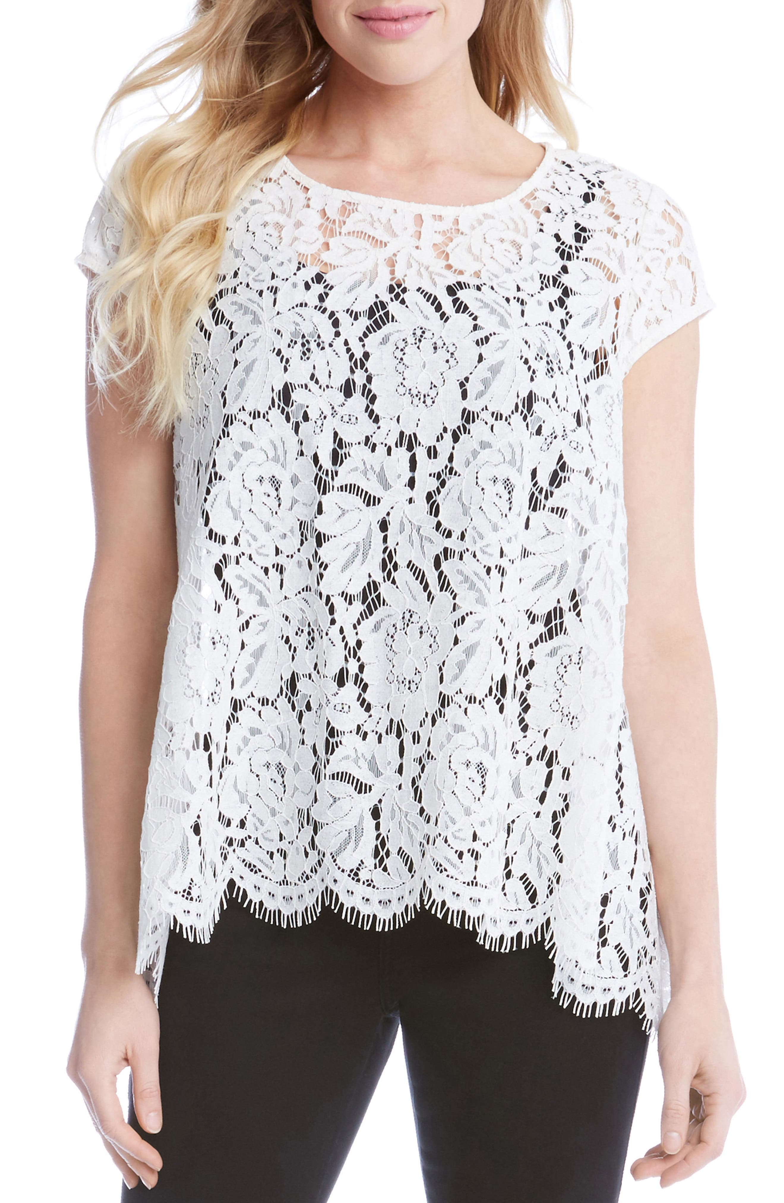 Lace High/Low Top,                         Main,                         color, 109