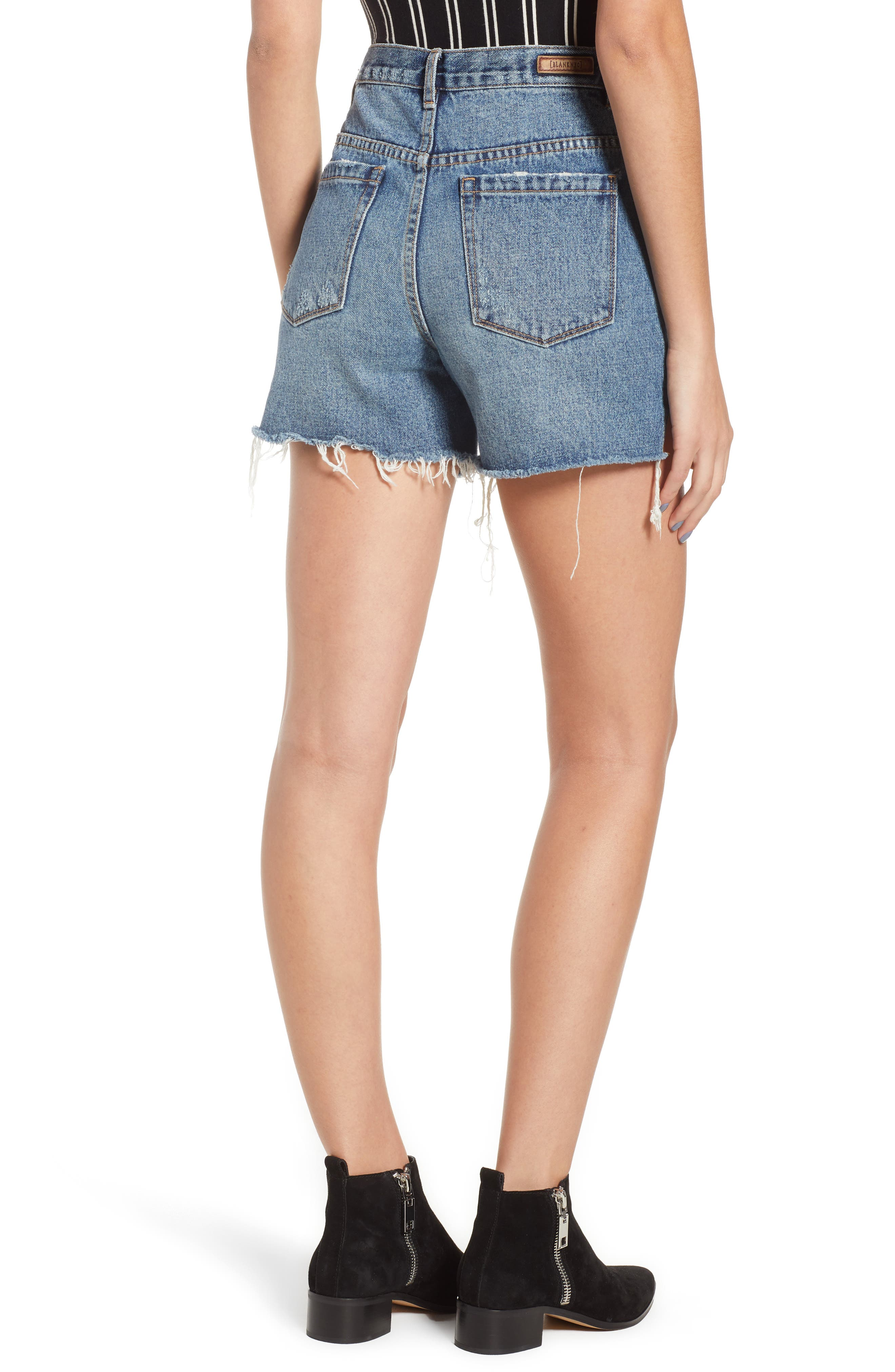 Ripped High Waist Denim Mom Shorts,                             Alternate thumbnail 2, color,                             CYBER HOARDER