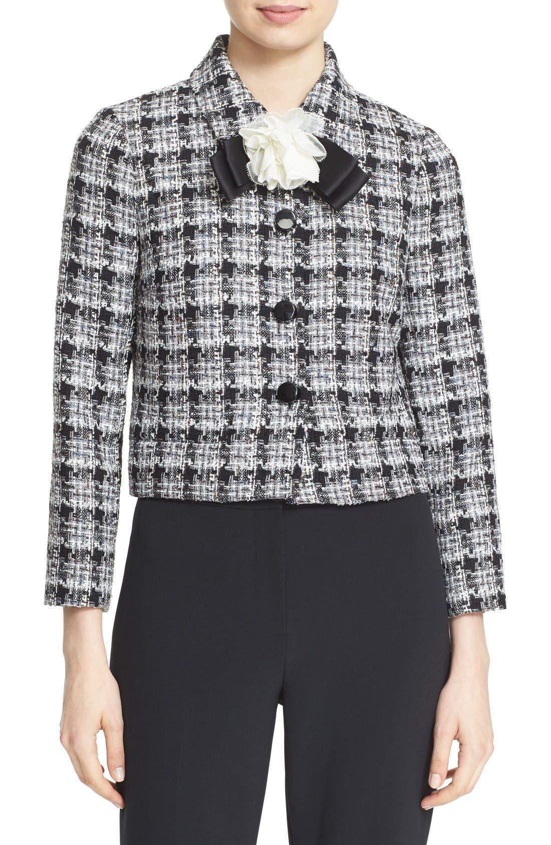 rosette bow tweed jacket,                             Main thumbnail 1, color,                             018