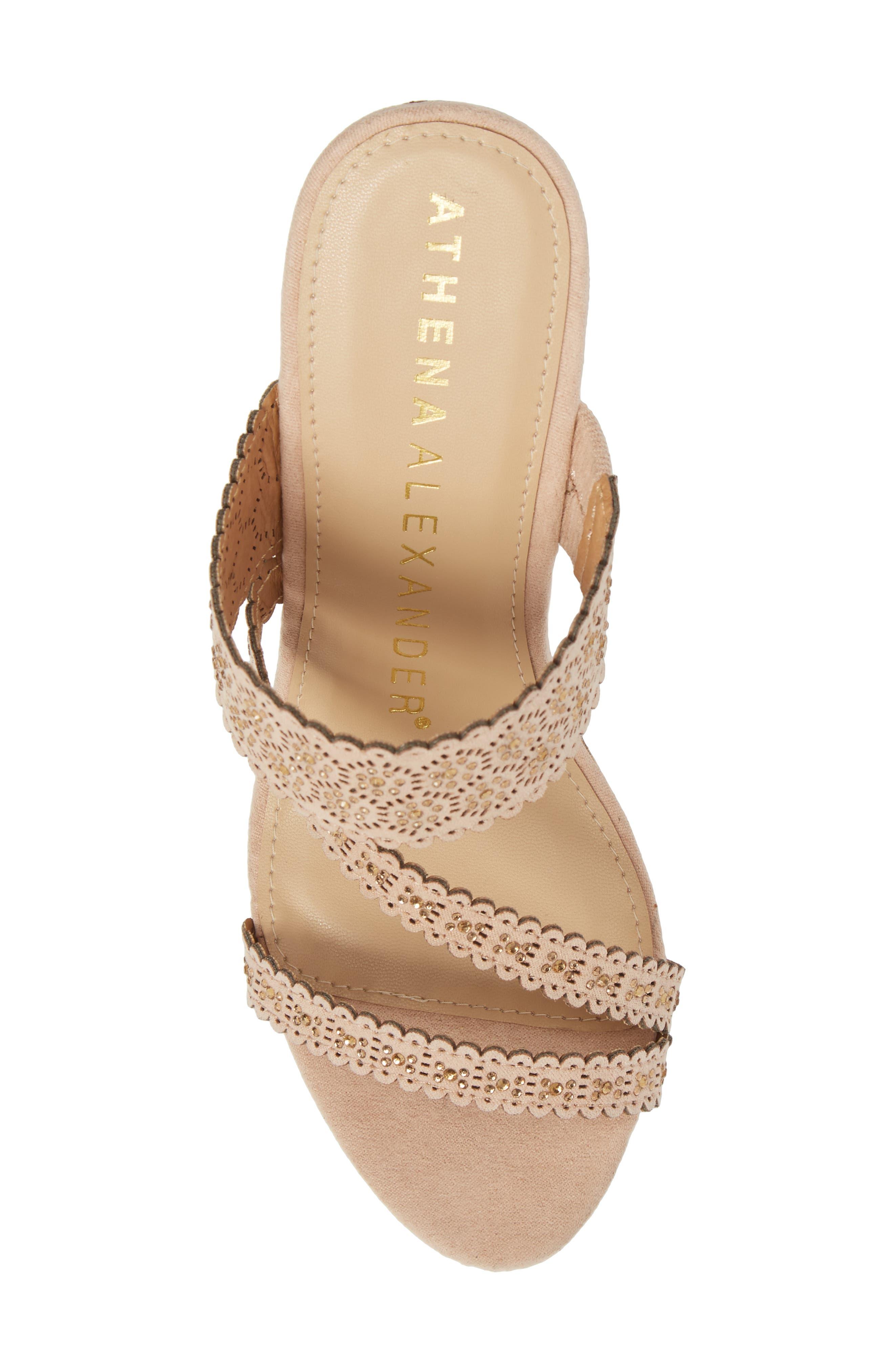 Aerin Embellished Wedge Sandal,                             Alternate thumbnail 5, color,                             BLUSH SUEDE