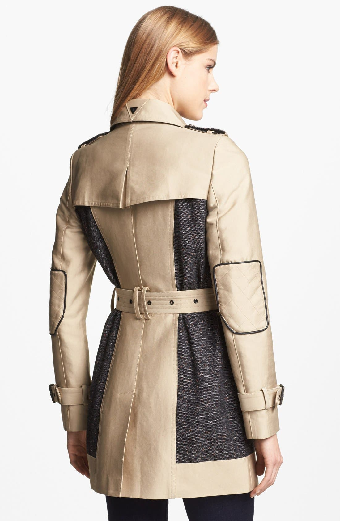 SAM EDELMAN,                             Double Breasted Wool Inset Trench Coat,                             Alternate thumbnail 3, color,                             250