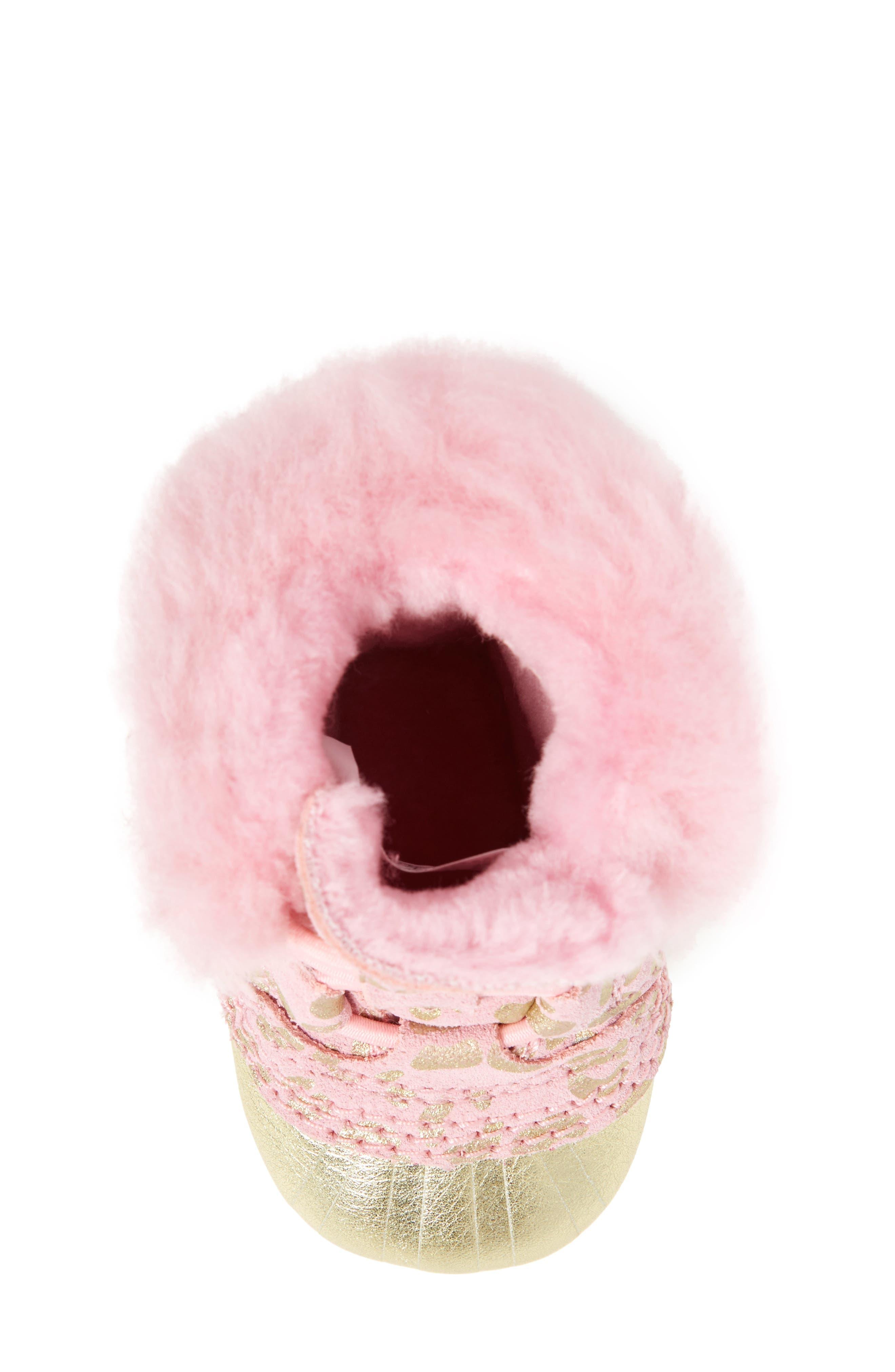 Caribootie Genuine Shearling Crib Shoe,                             Alternate thumbnail 30, color,
