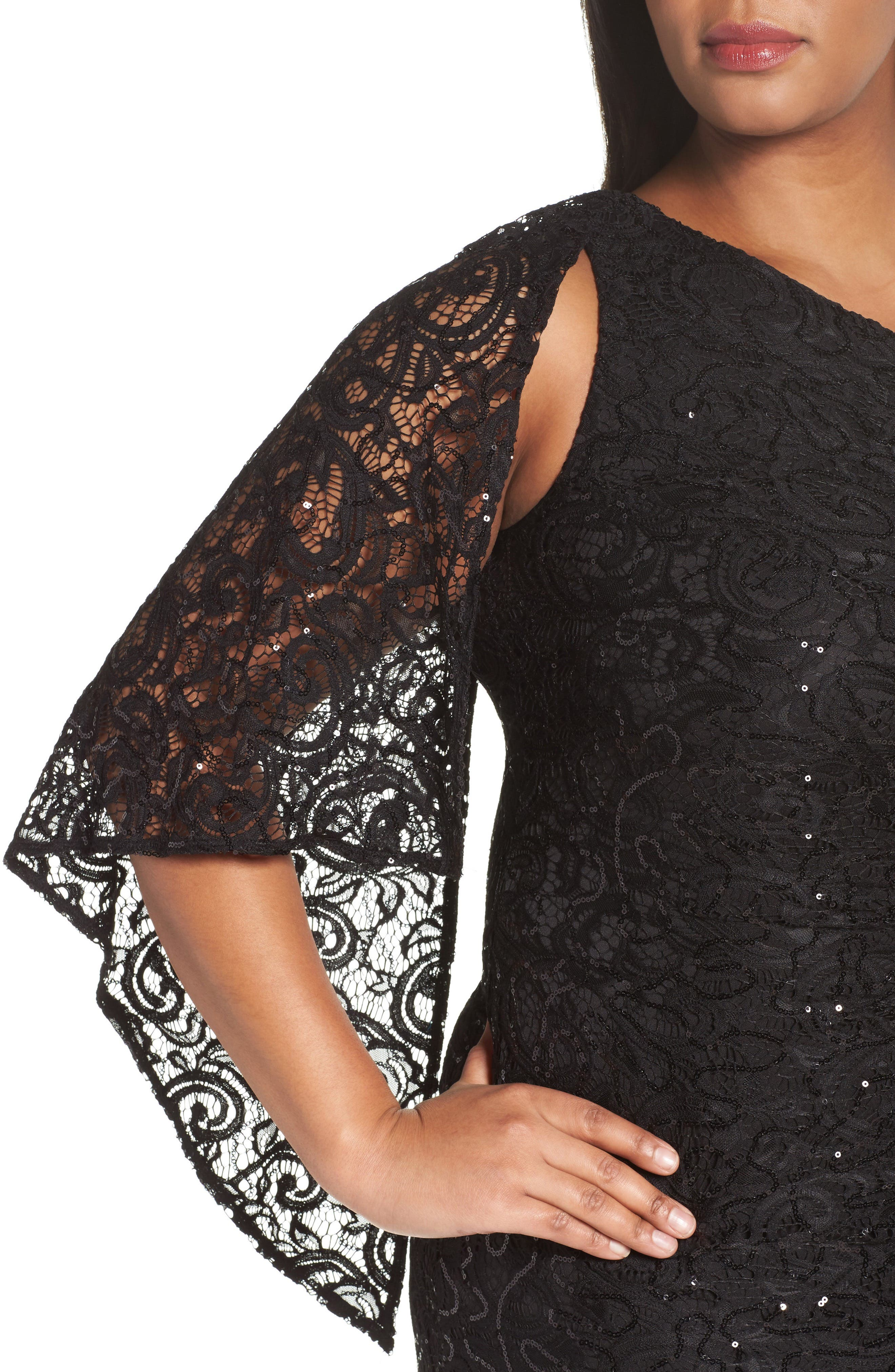Sequin Lace One-Shoulder Gown,                             Alternate thumbnail 4, color,                             001