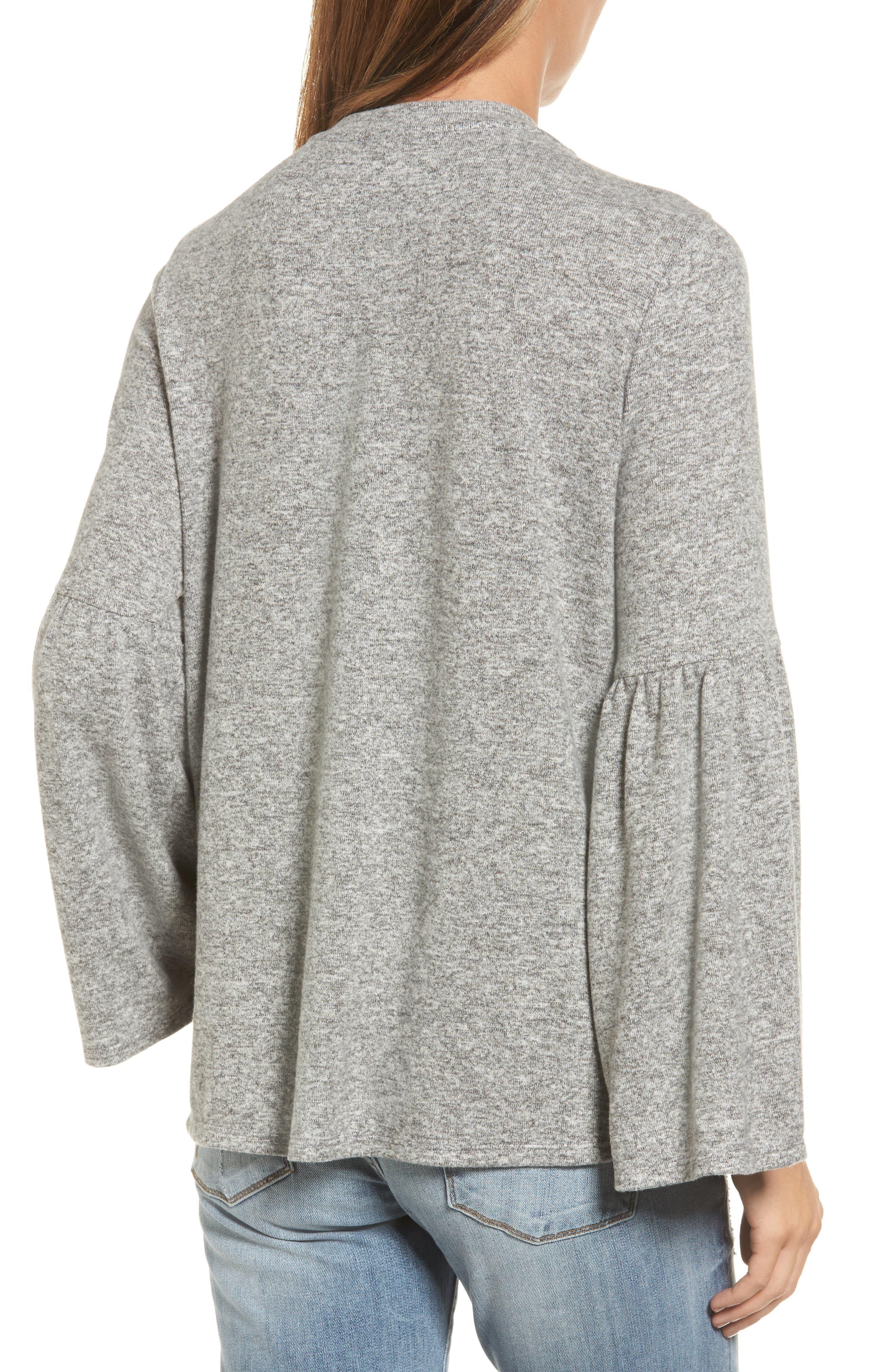 Bell Sleeve Cozy Fleece Pullover,                             Alternate thumbnail 19, color,