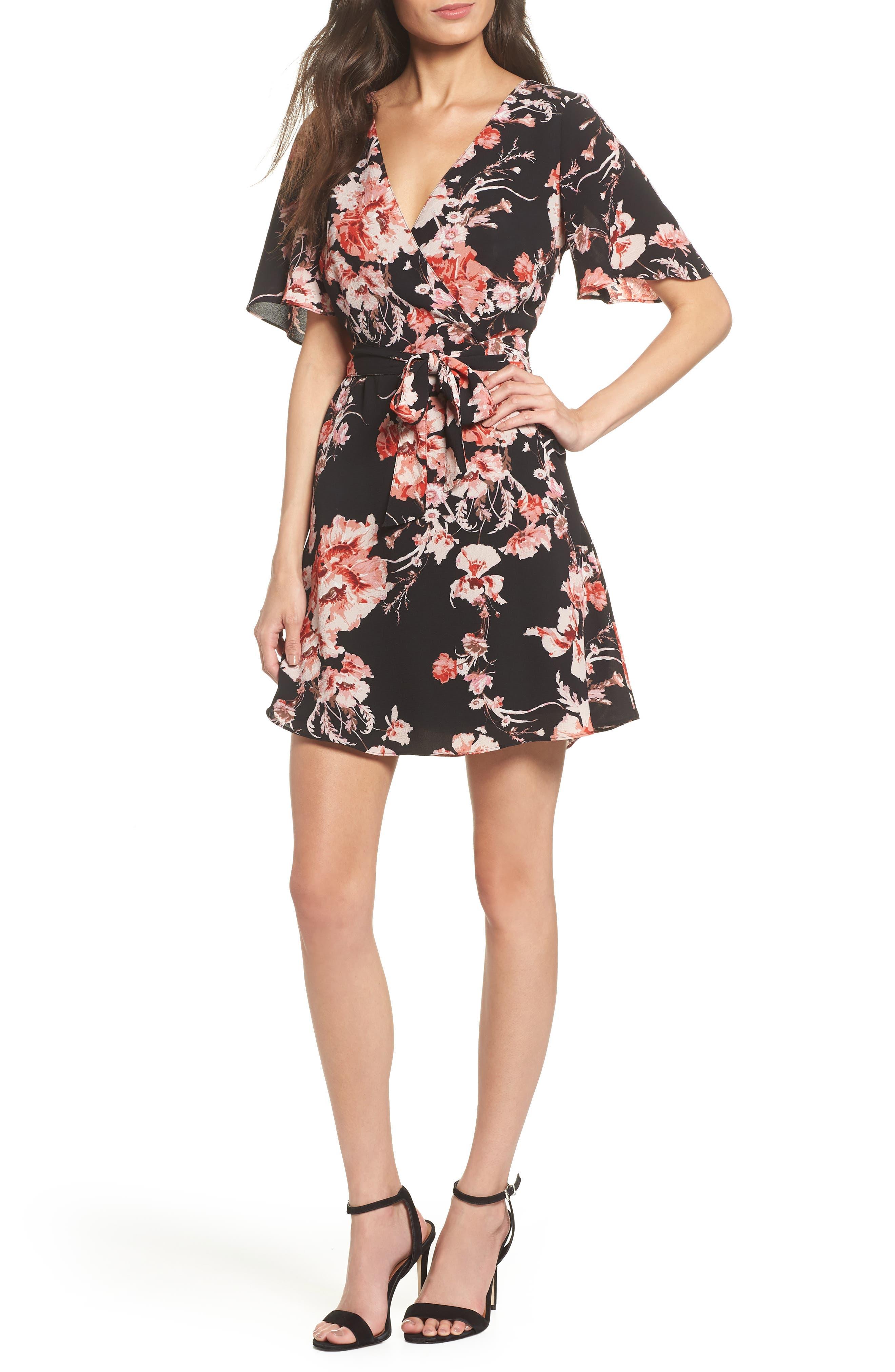 BB DAKOTA Wait Until Dark Floral Dress, Main, color, 001