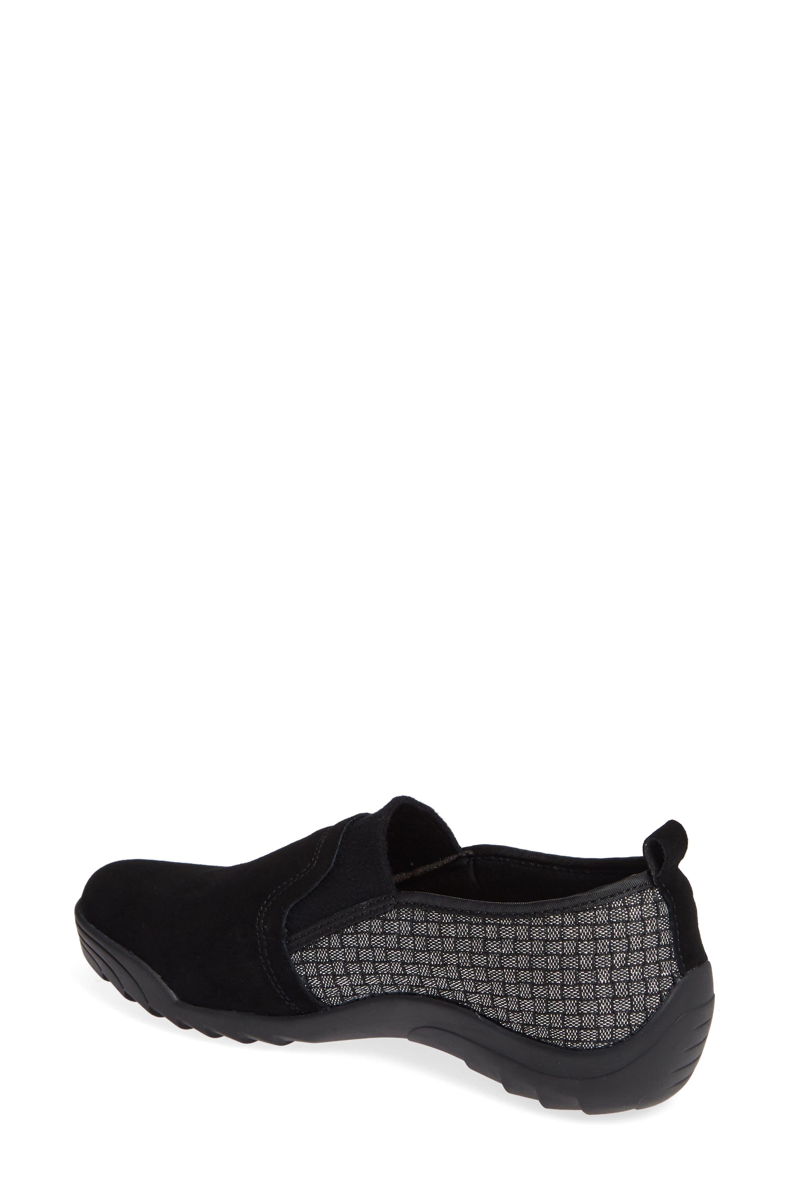 Swift Slip-On Sneaker,                             Alternate thumbnail 2, color,                             BLACK SHIMMER LEATHER