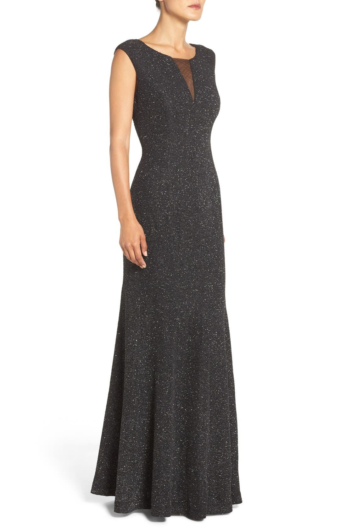 Glitter Knit Gown,                             Alternate thumbnail 3, color,                             046