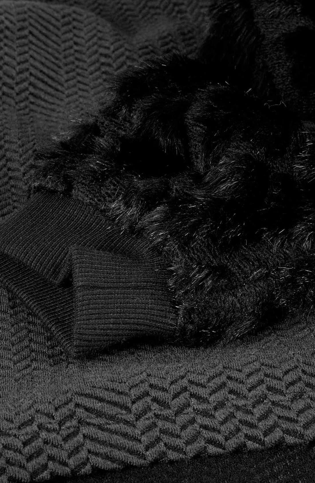 Faux Fur Sleeve Sweatshirt,                             Alternate thumbnail 2, color,                             001