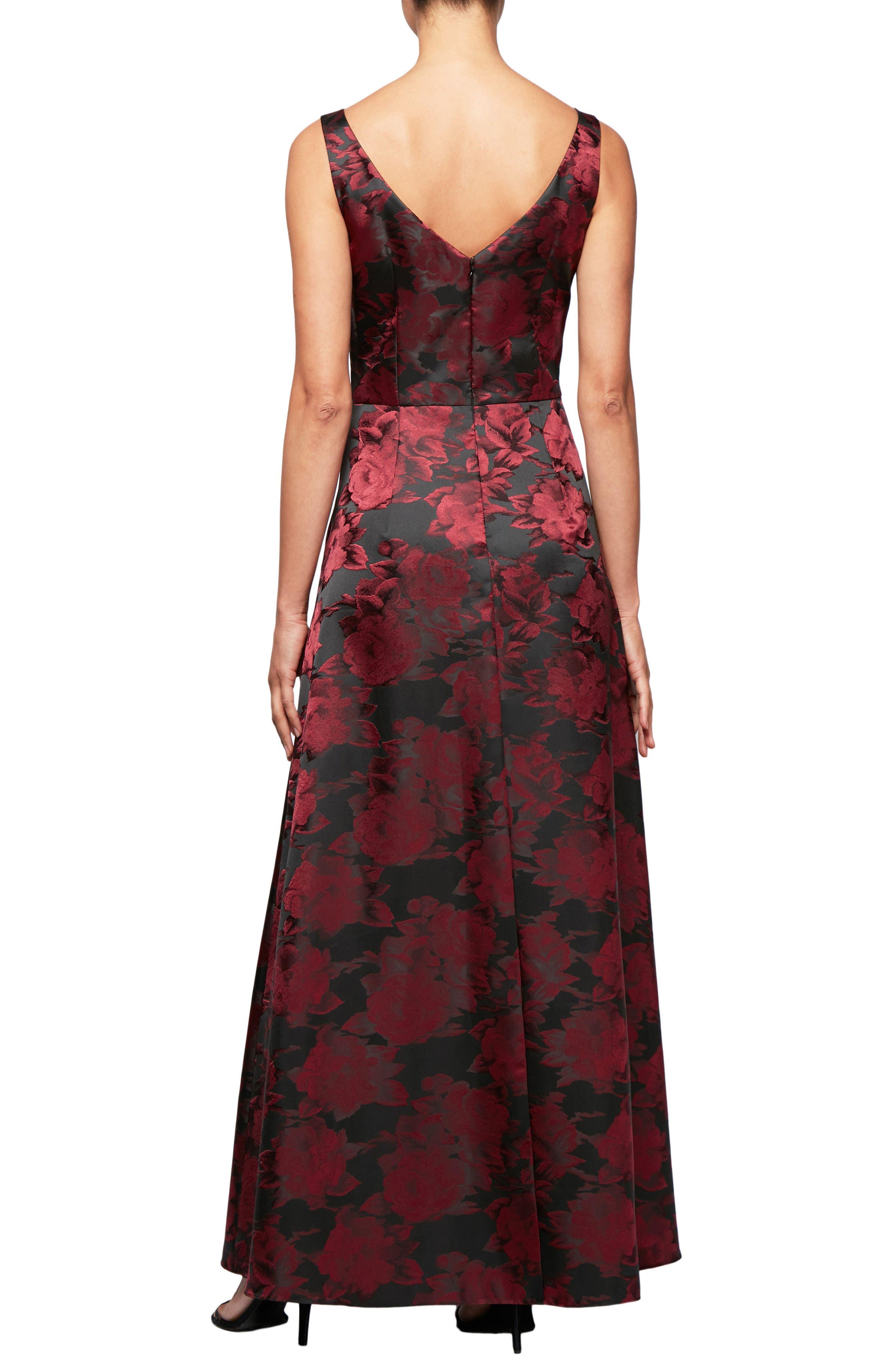 Floral Print A-Line Gown,                             Alternate thumbnail 2, color,                             600