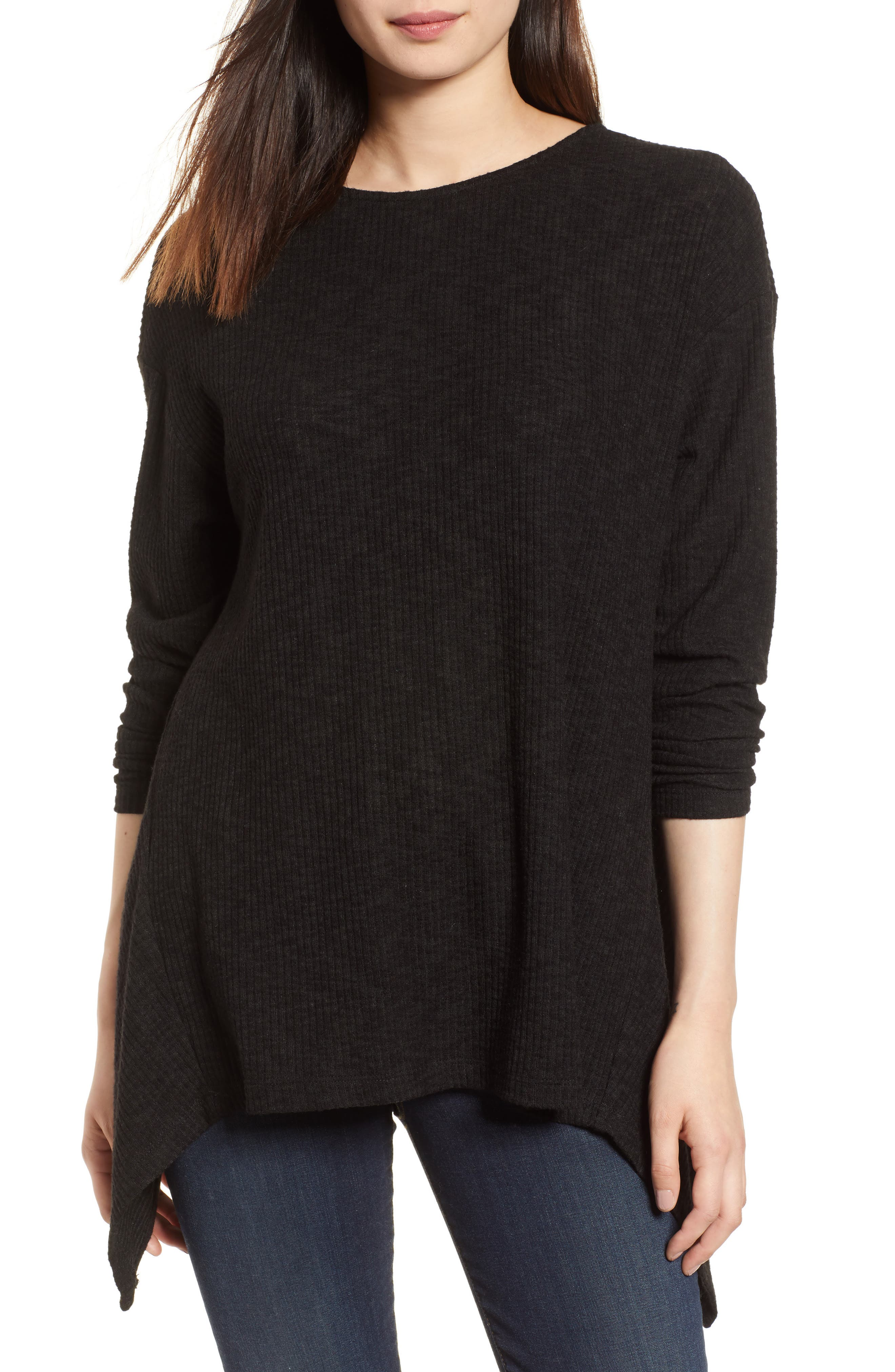 Ribbed Cozy Fleece Twist Back Top,                             Main thumbnail 1, color,