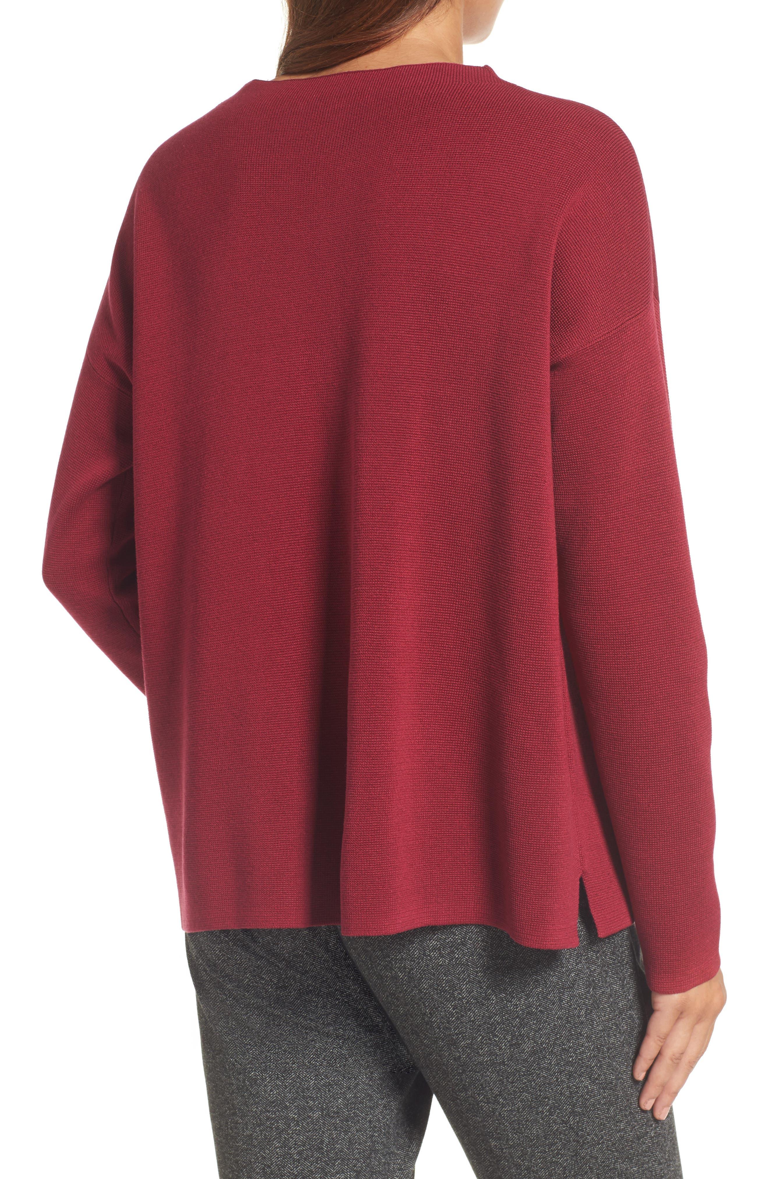 Mock Neck Box Silk & Organic Cotton Sweater,                             Alternate thumbnail 2, color,                             635