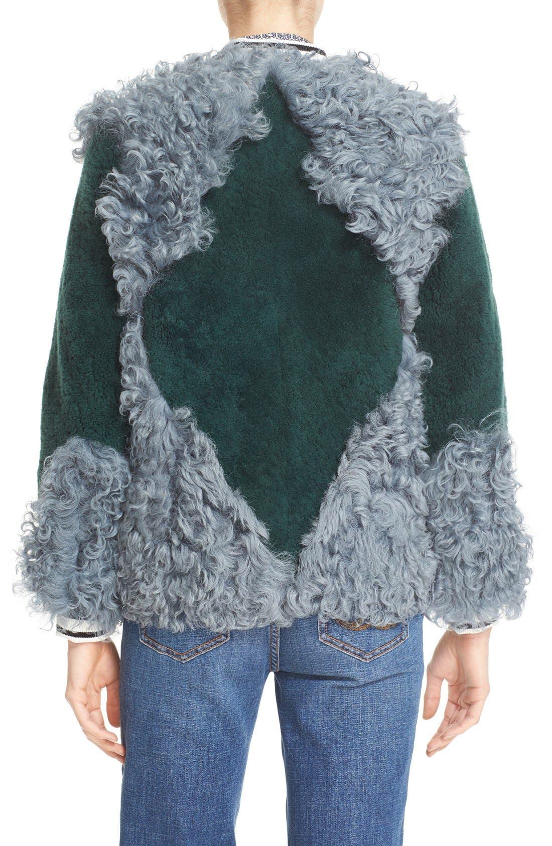 'Bristol' Colorblock Genuine Shearling Jacket,                             Alternate thumbnail 2, color,                             318