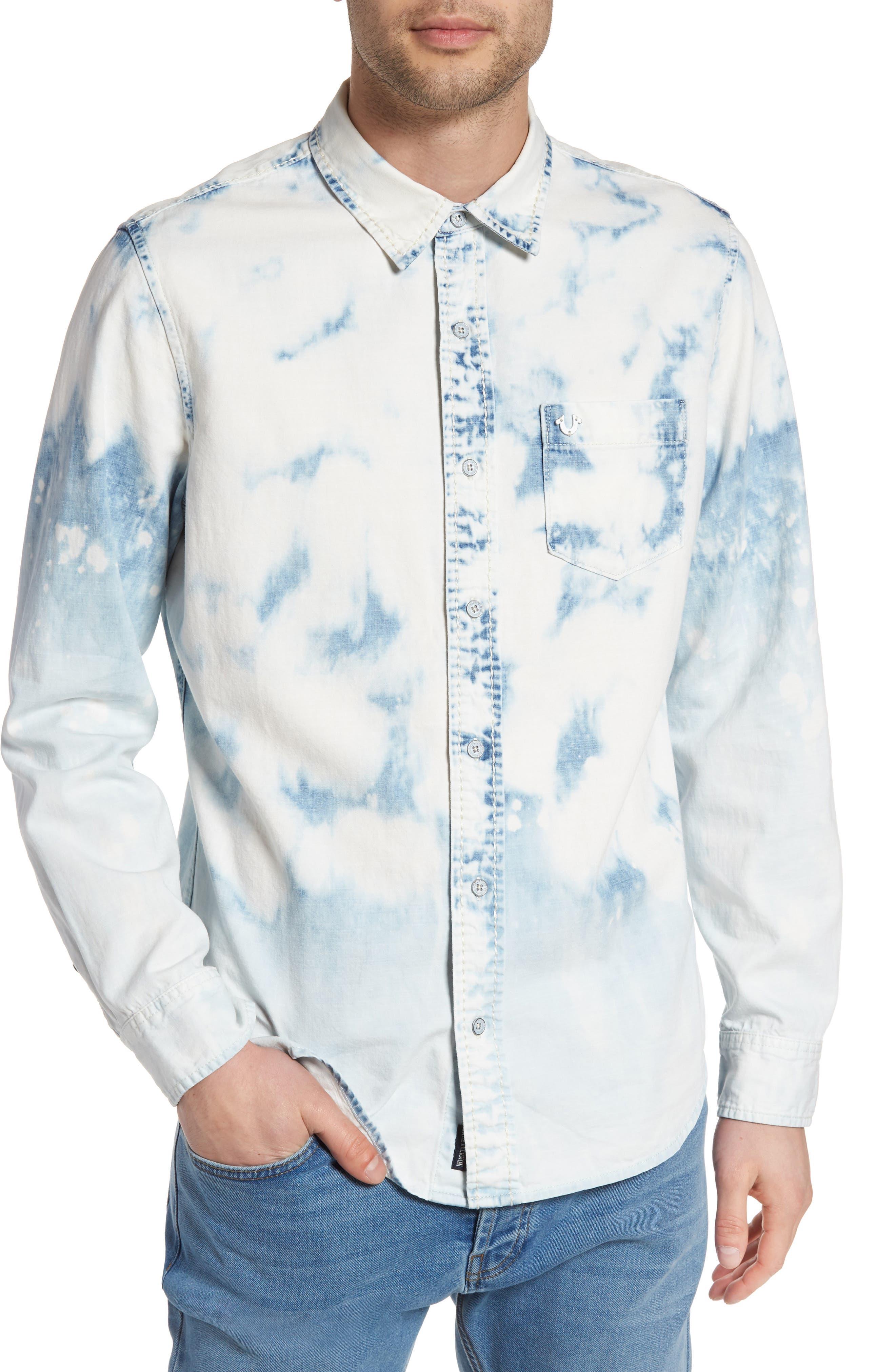 Bleached Denim Shirt,                         Main,                         color, 400