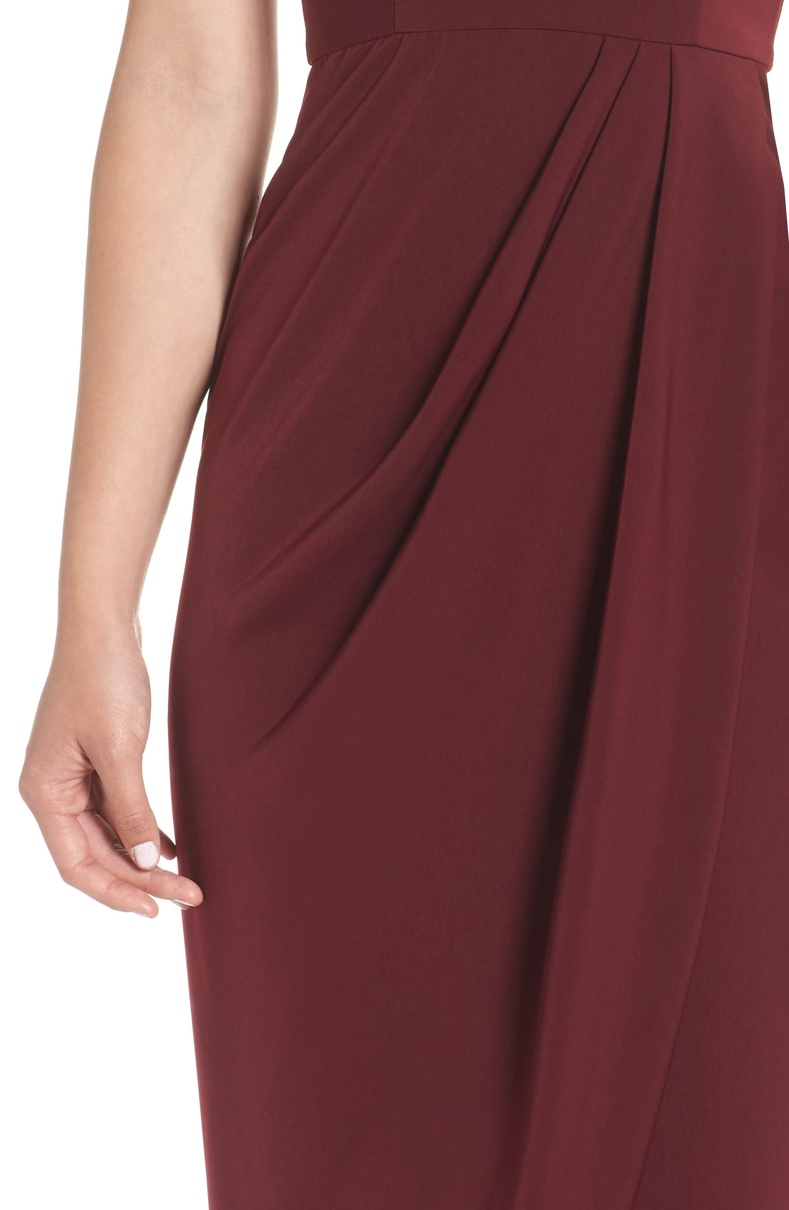 SHONA JOY,                             Tulip Hem Maxi Dress,                             Alternate thumbnail 4, color,                             BURGUNDY