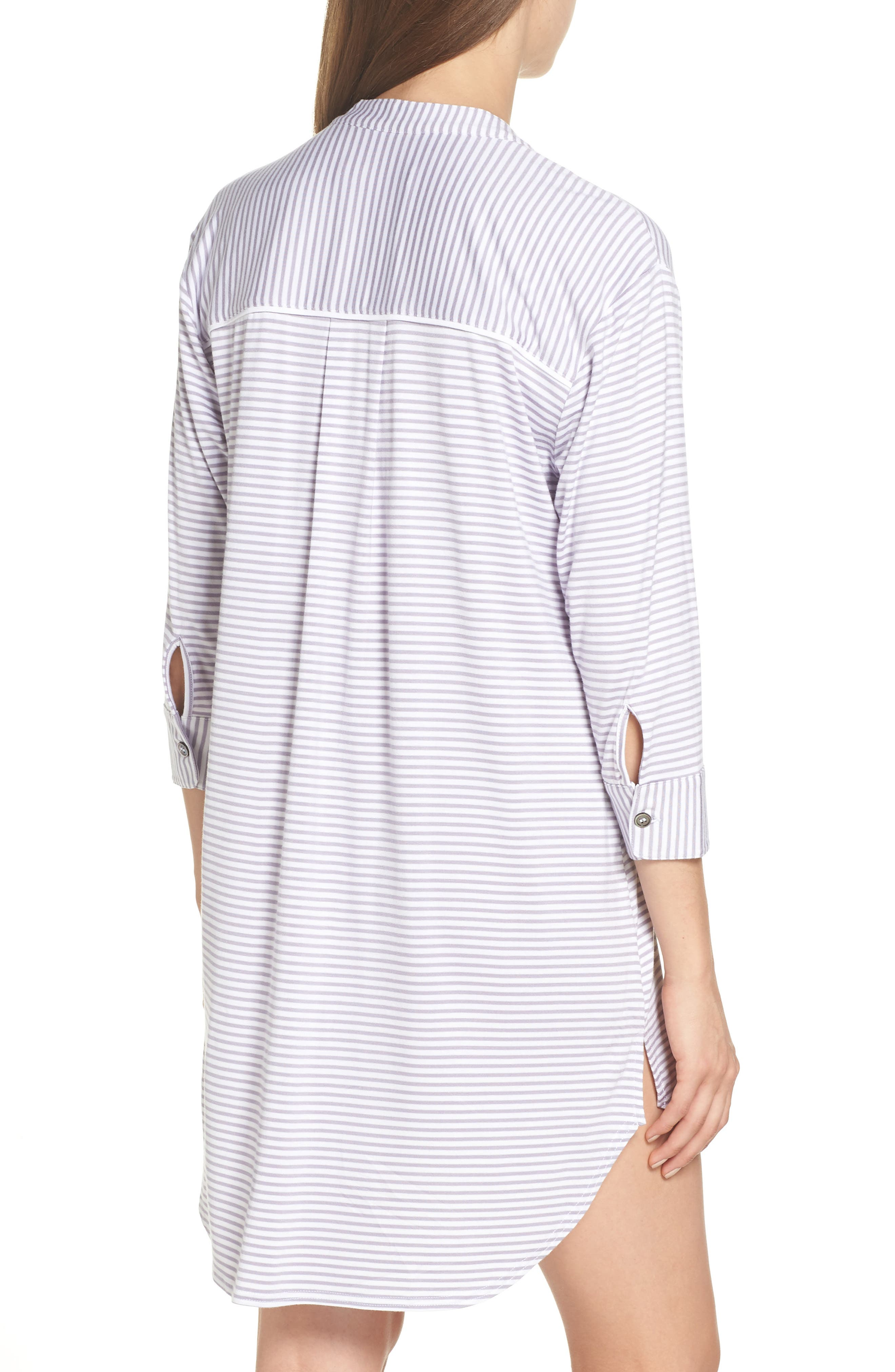 Vivian Sleep Shirt,                             Alternate thumbnail 2, color,                             LAVENDER AURA / WHITE STRIPE