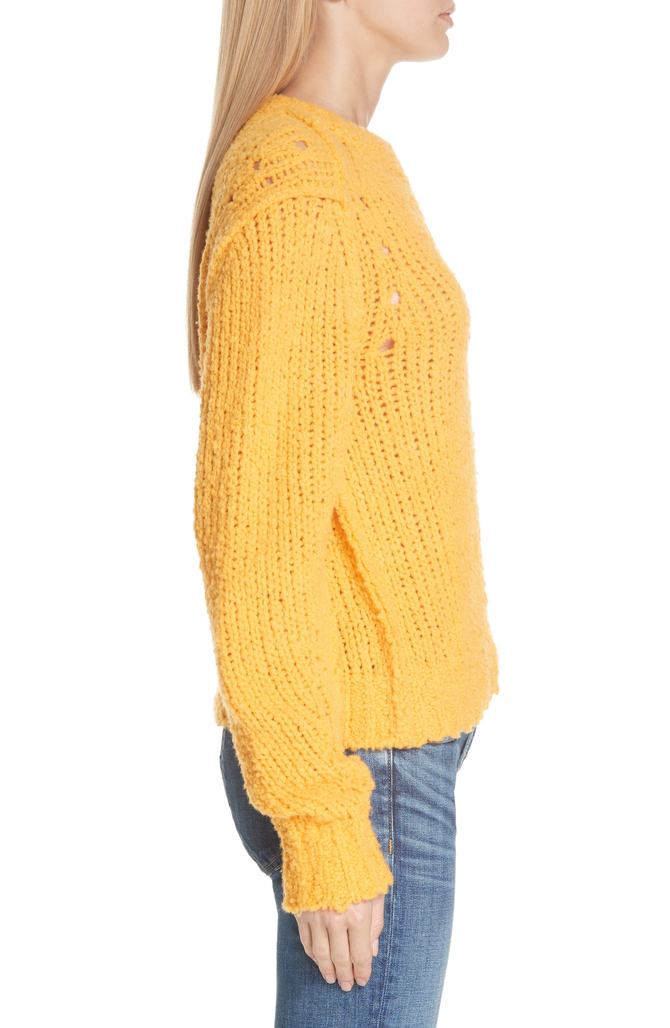 Arizona Merino Wool Sweater,                             Alternate thumbnail 3, color,                             GOLD