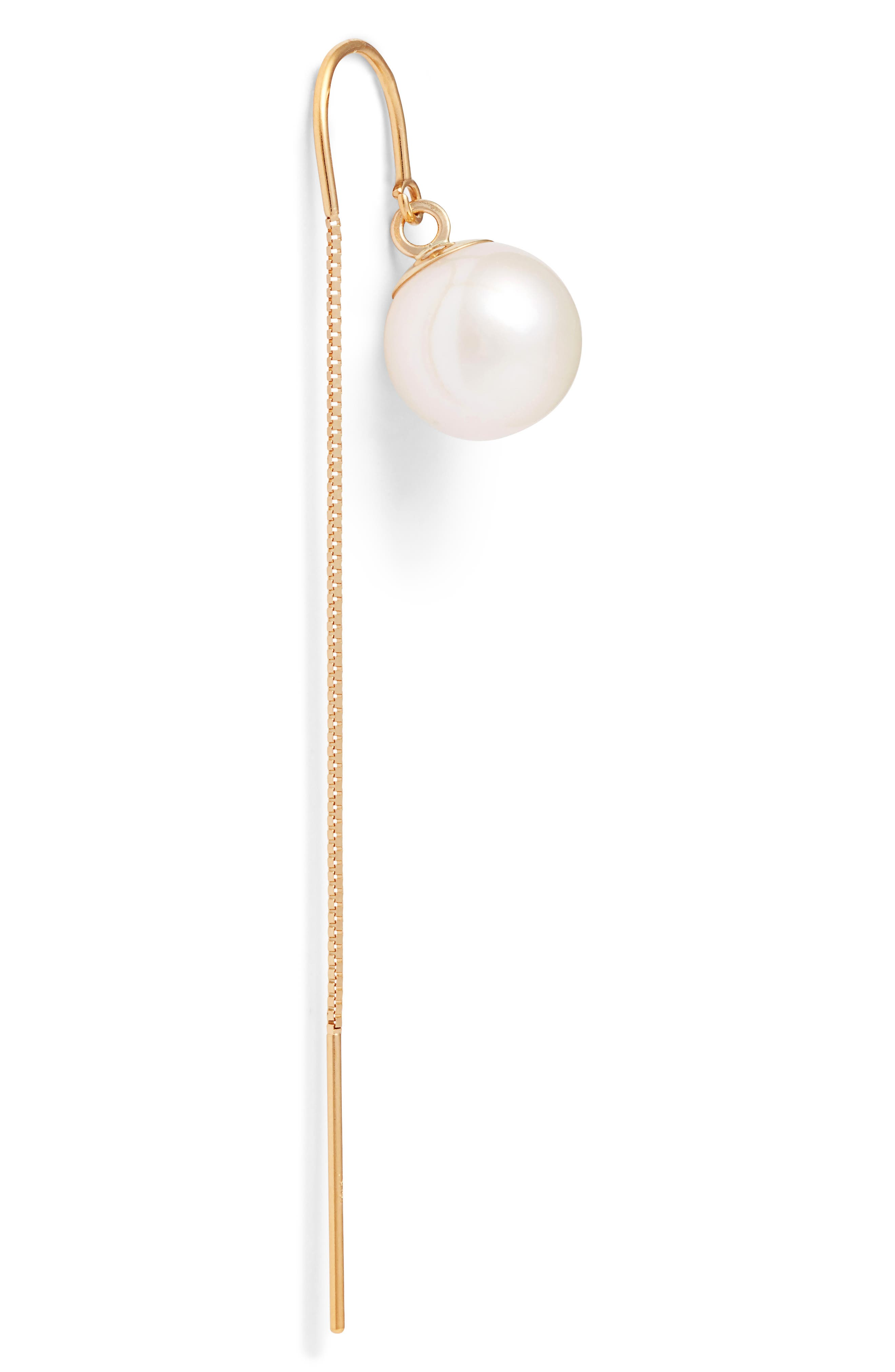 Pearl Threader Earrings,                             Alternate thumbnail 5, color,                             YELLOW GOLD/ WHITE PEARL