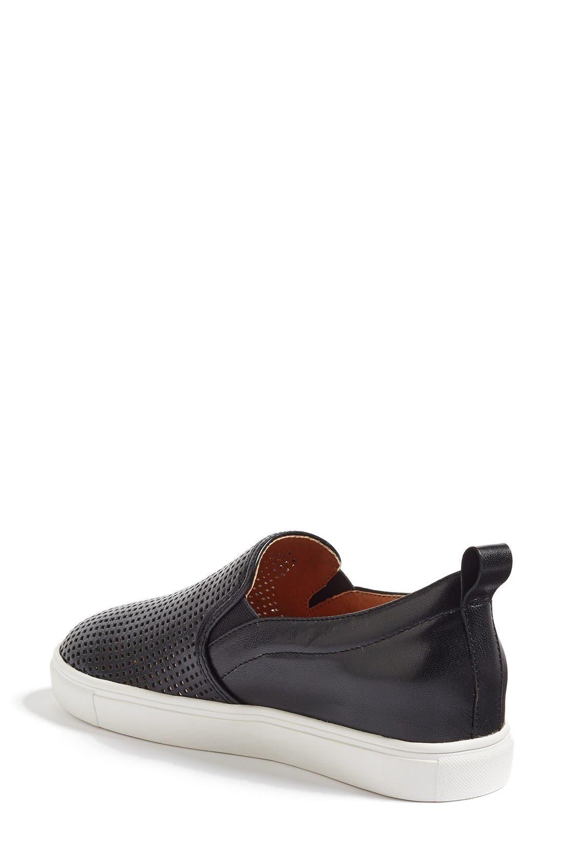 Eden Perforated Slip-On Sneaker,                             Alternate thumbnail 3, color,                             001