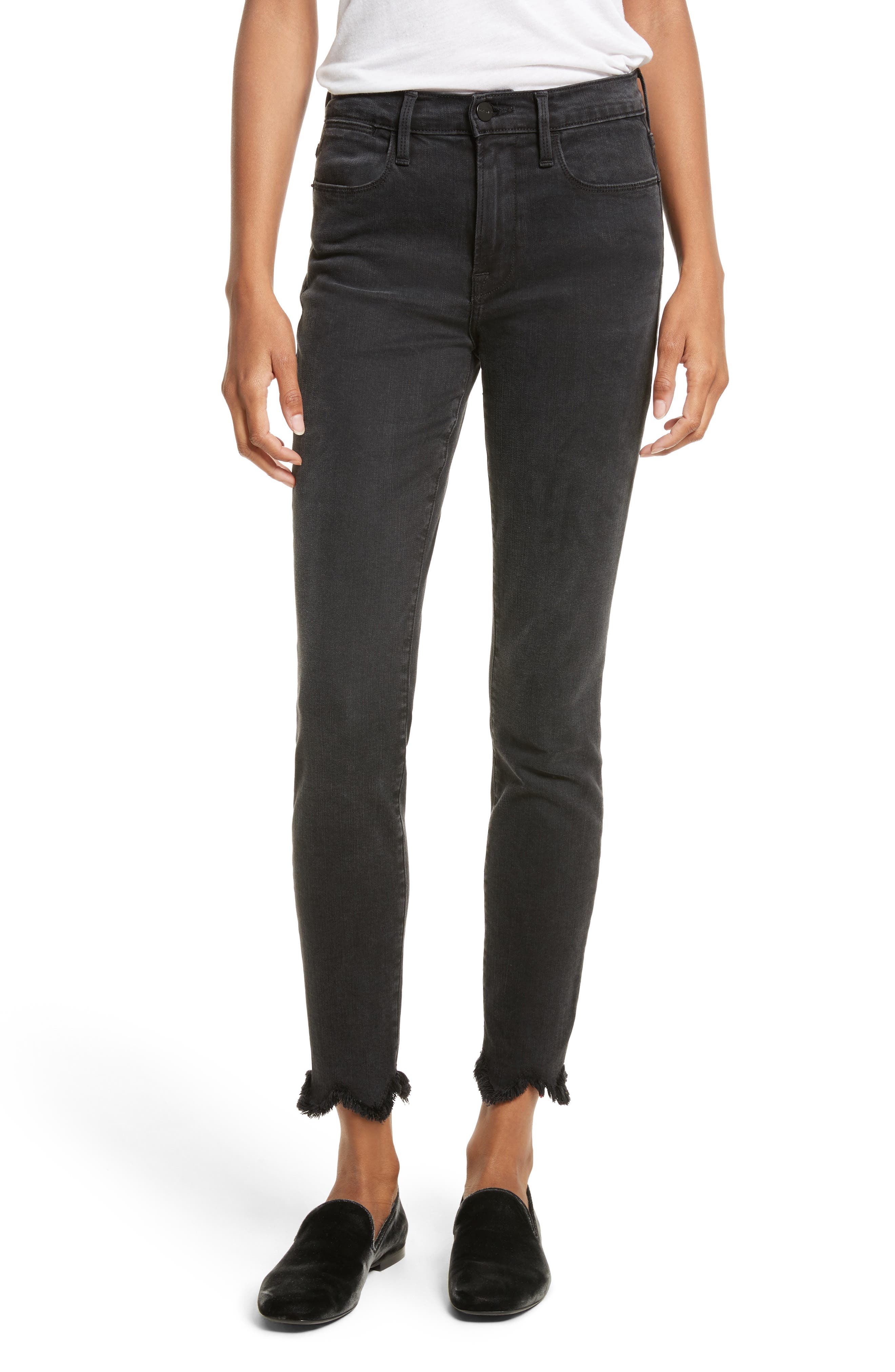 Le High Frayed Ankle Skinny Jeans,                         Main,                         color,