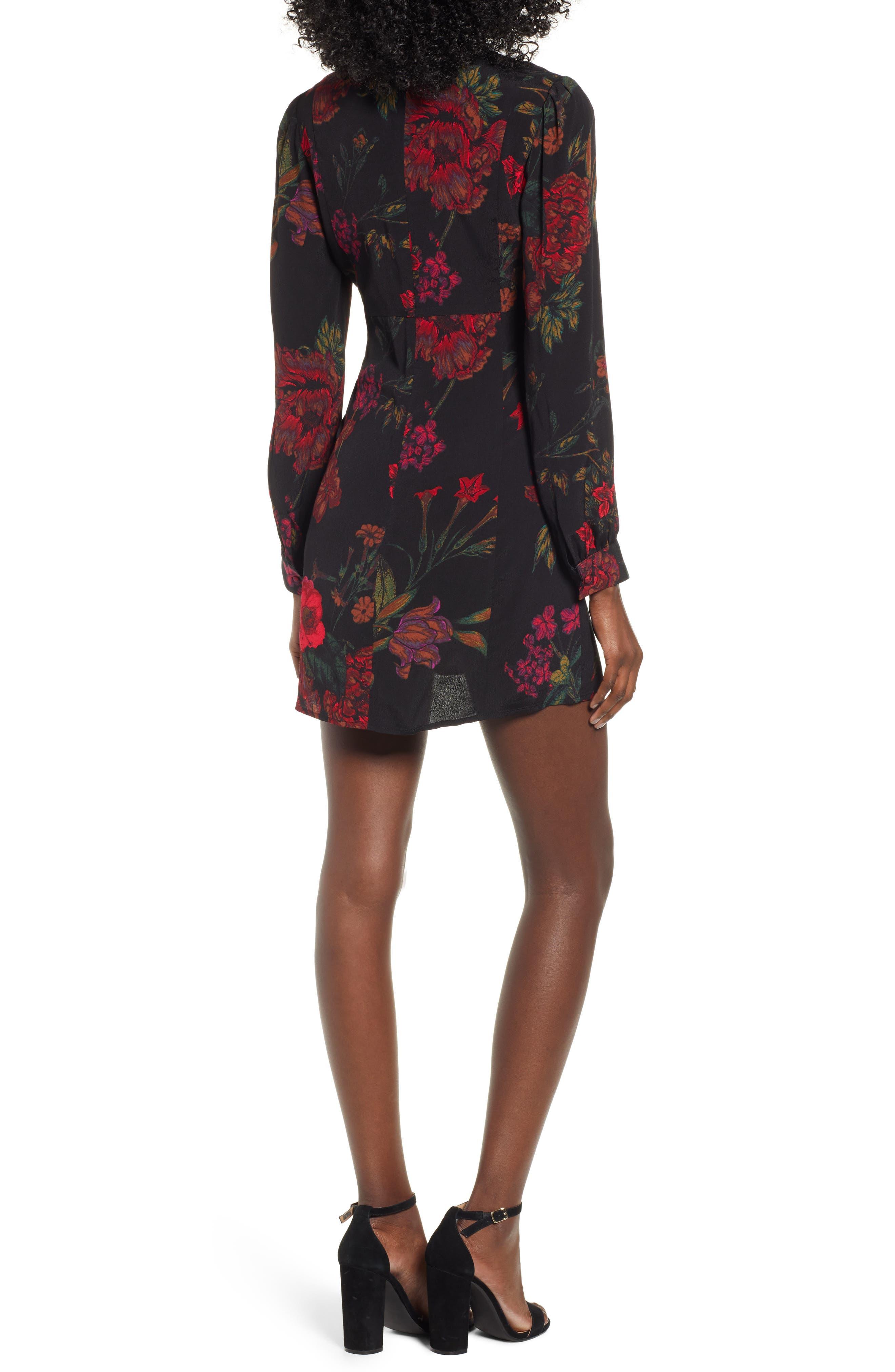 V-Neck Floral Print Minidress,                             Alternate thumbnail 2, color,                             BLACK STATEMENT FLORAL