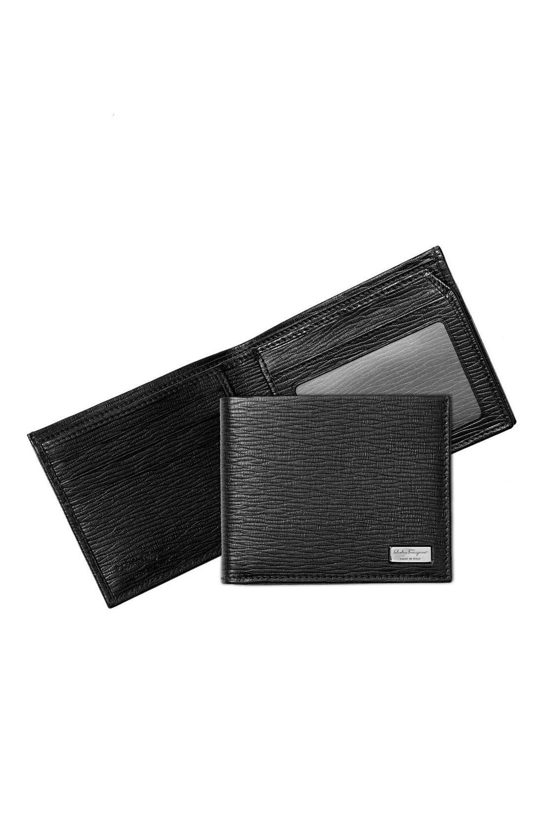 Stamped Calf Wallet,                             Alternate thumbnail 2, color,                             BLACK