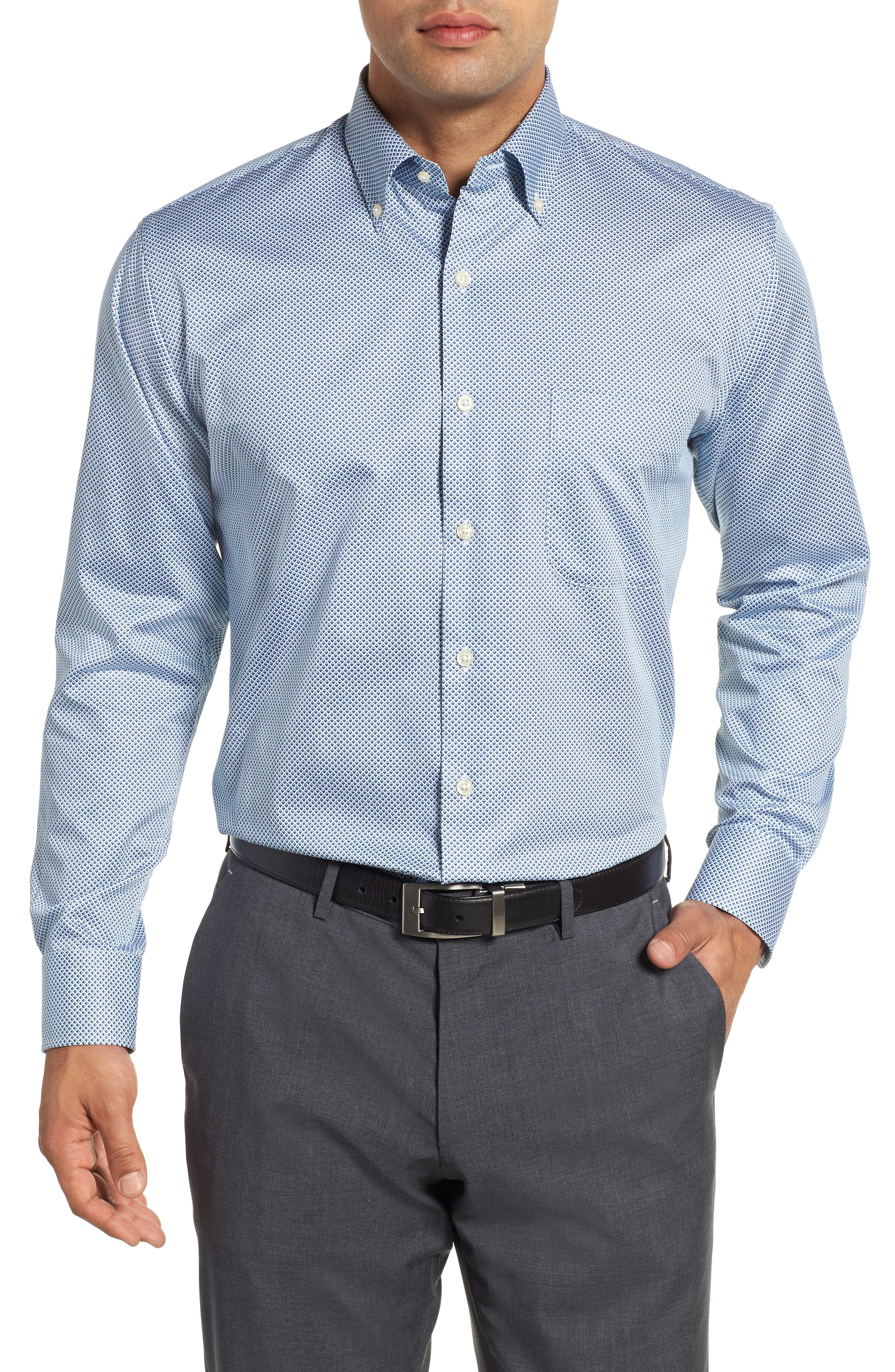 Diamond in the Rough Regular Fit Sport Shirt,                         Main,                         color, NAVY