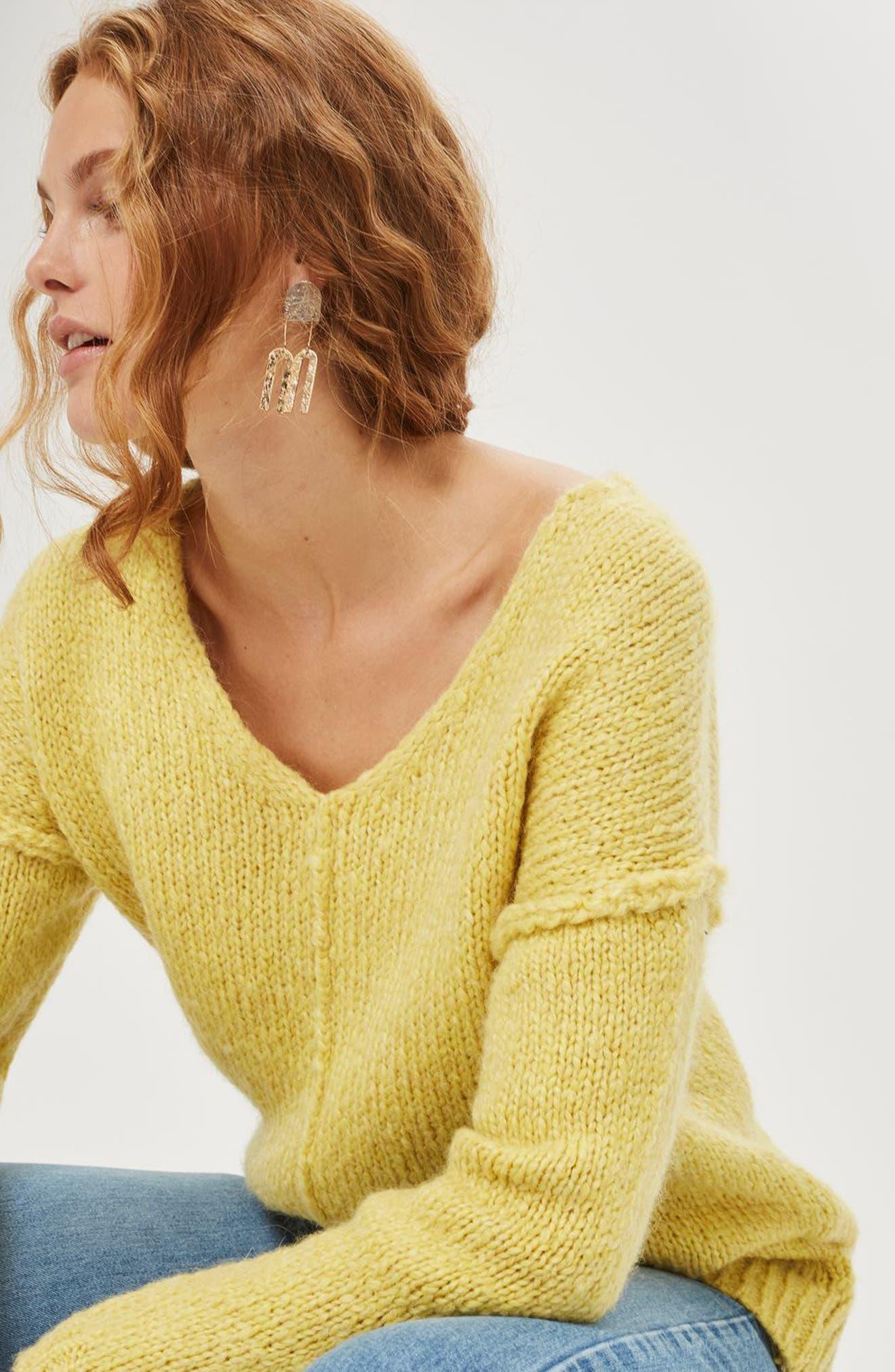 Oversize V-Neck Sweater,                             Alternate thumbnail 4, color,                             700