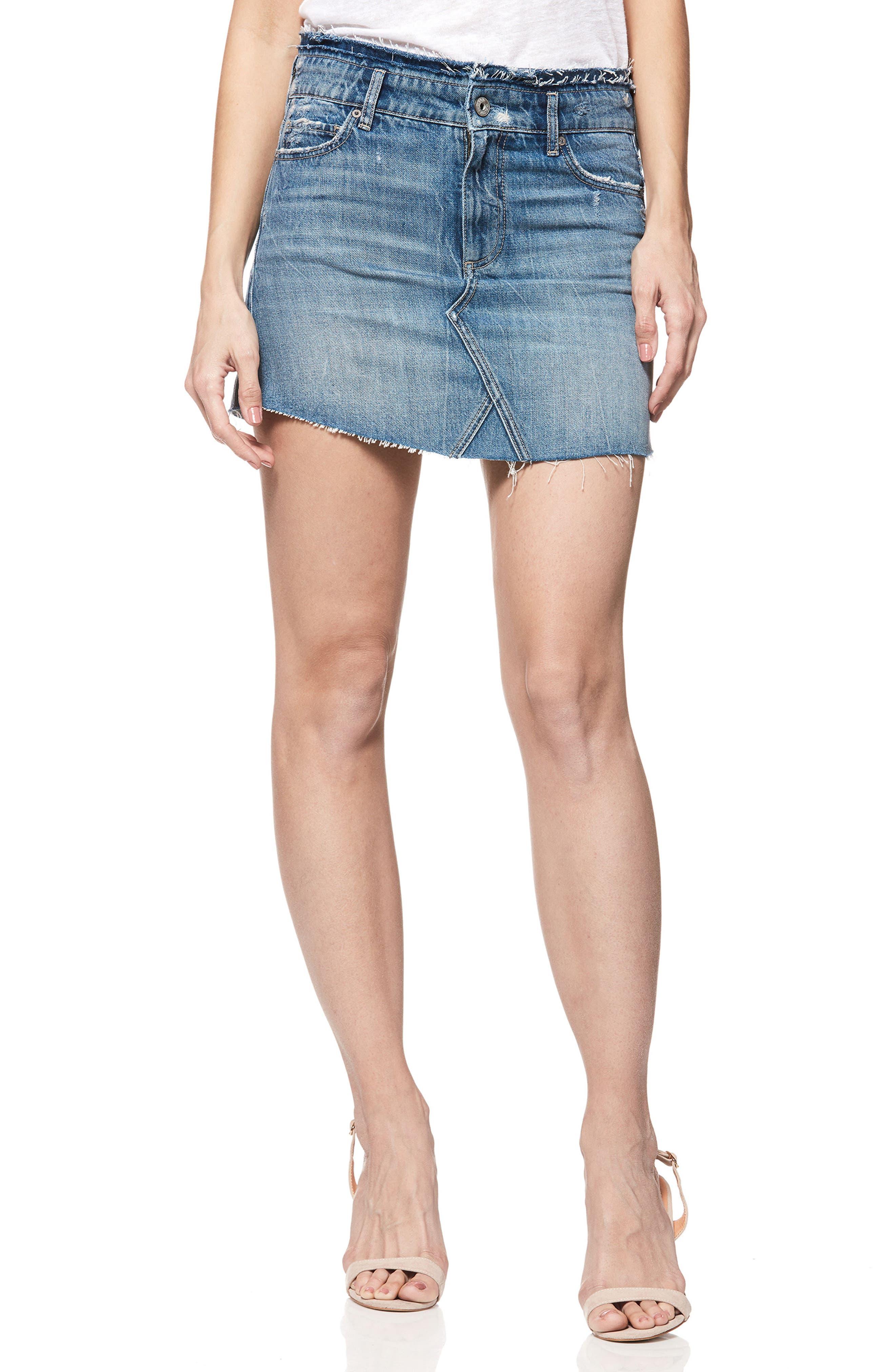 Paige Alethea Frayed Denim Miniskirt, Blue