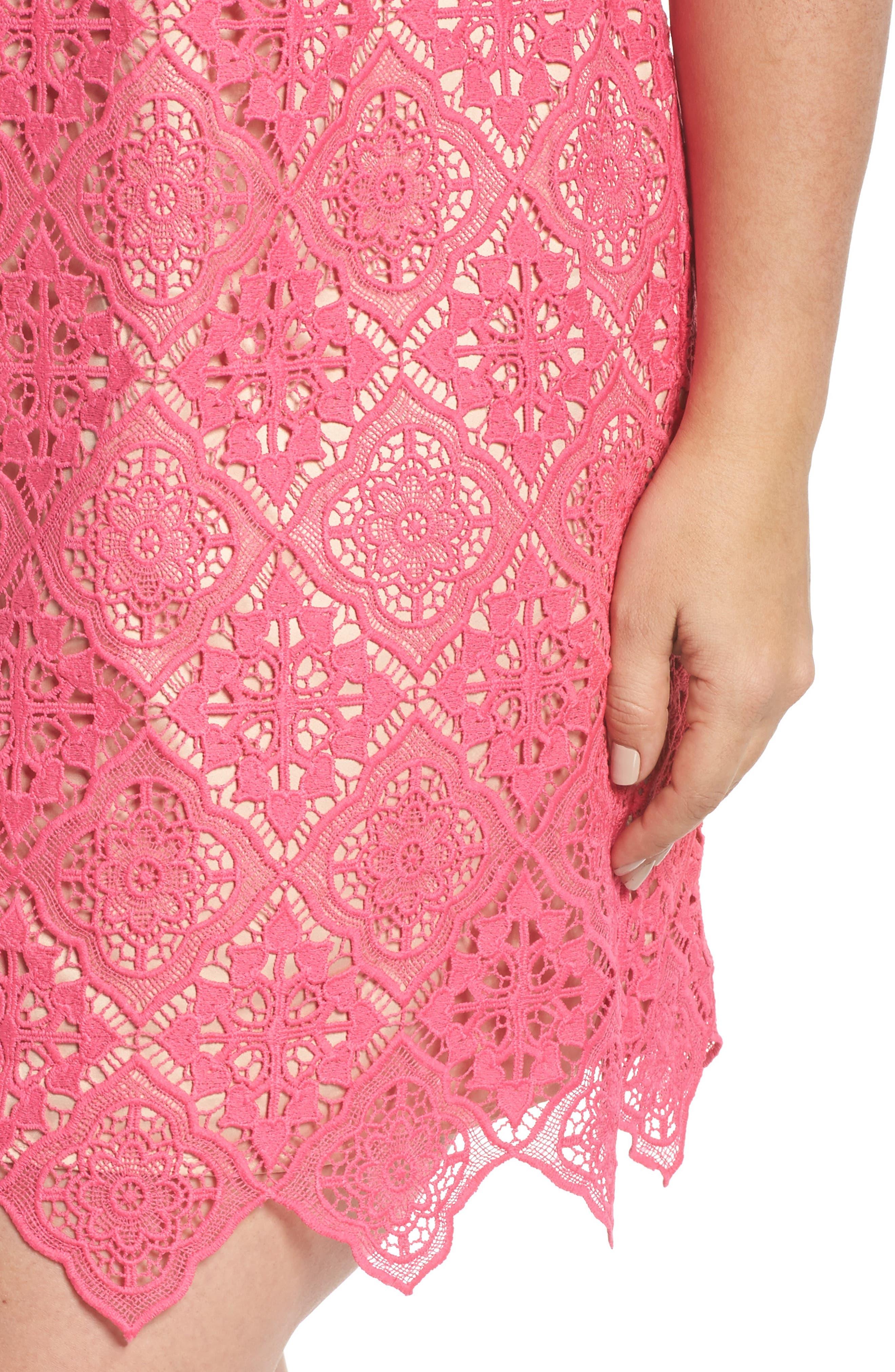 Lace Sleeveless Shift Dress,                             Alternate thumbnail 4, color,                             670