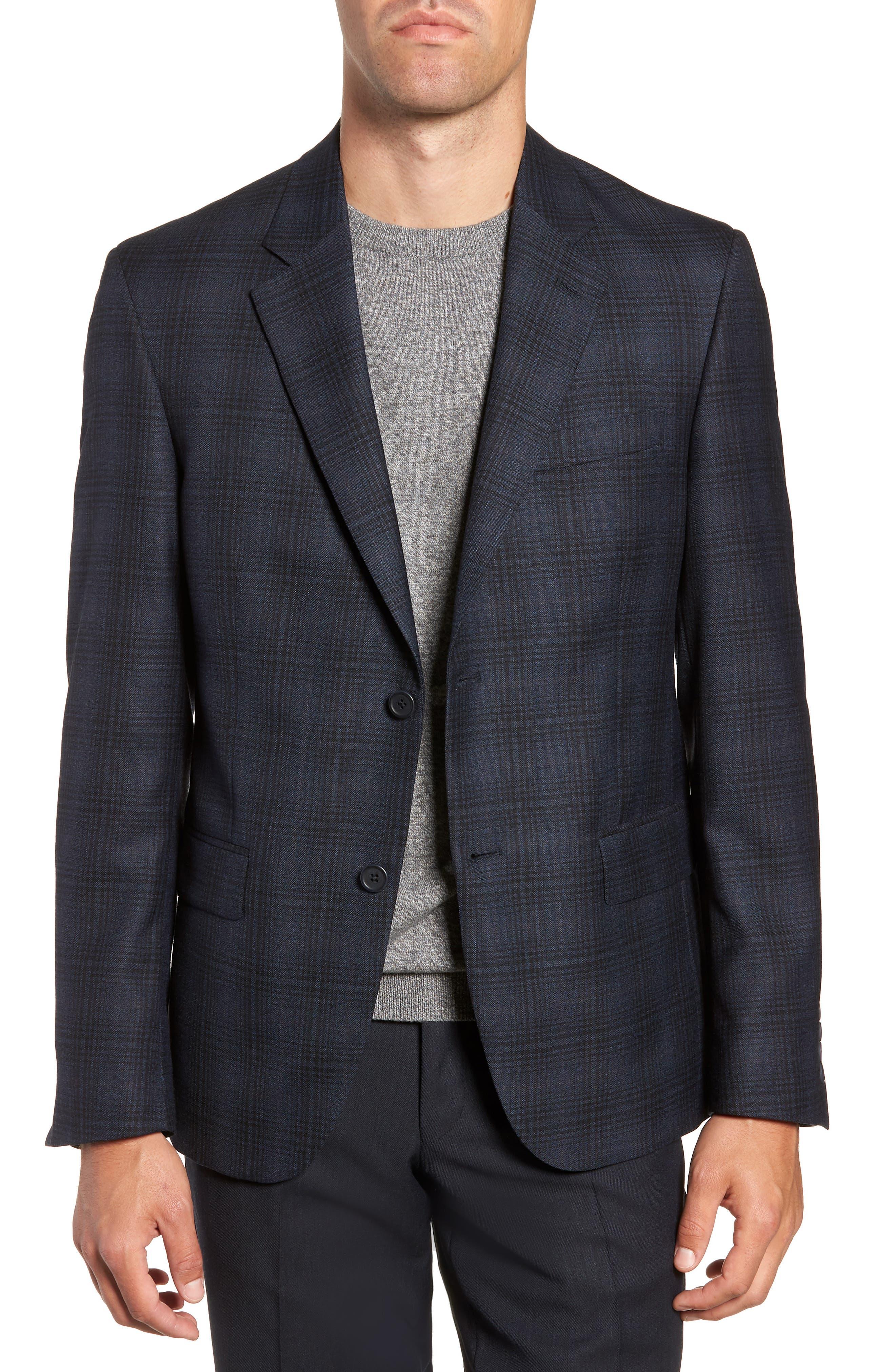 Trim Fit Shadow Plaid Sport Coat,                         Main,                         color, NAVY