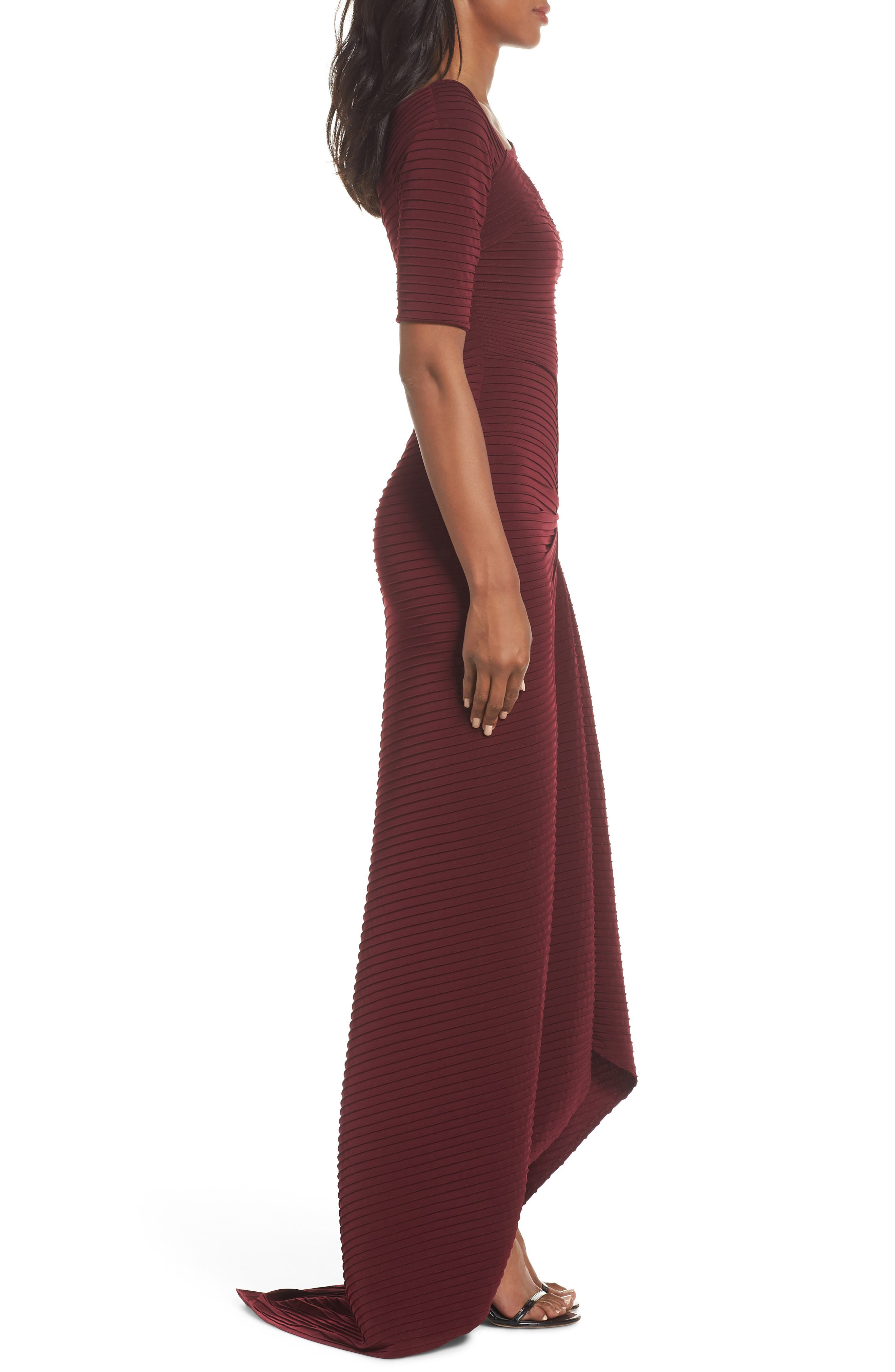 Pintuck Pleat Jersey Gown,                             Alternate thumbnail 3, color,                             WINE