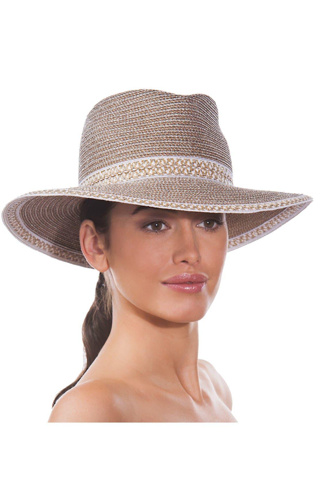 'Georgia' Woven Hat,                             Alternate thumbnail 3, color,                             100