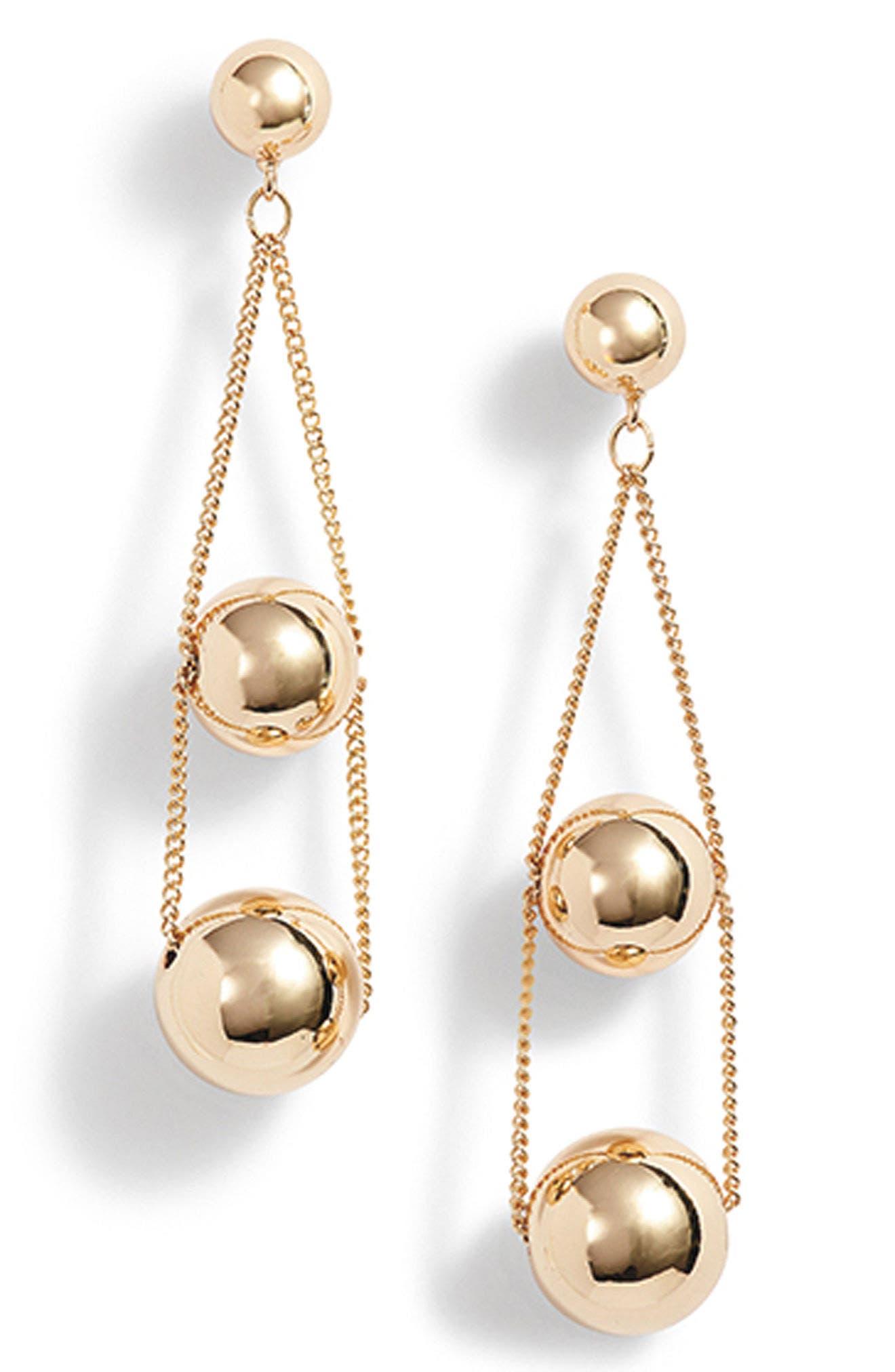 Triple Sphere Chain Drop Earrings,                             Alternate thumbnail 5, color,