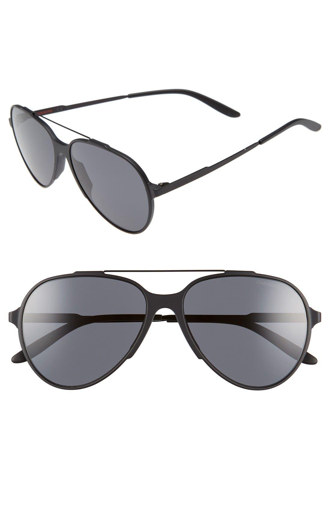 '118/S' 57mm Sunglasses,                             Main thumbnail 1, color,                             MATTE BLACK