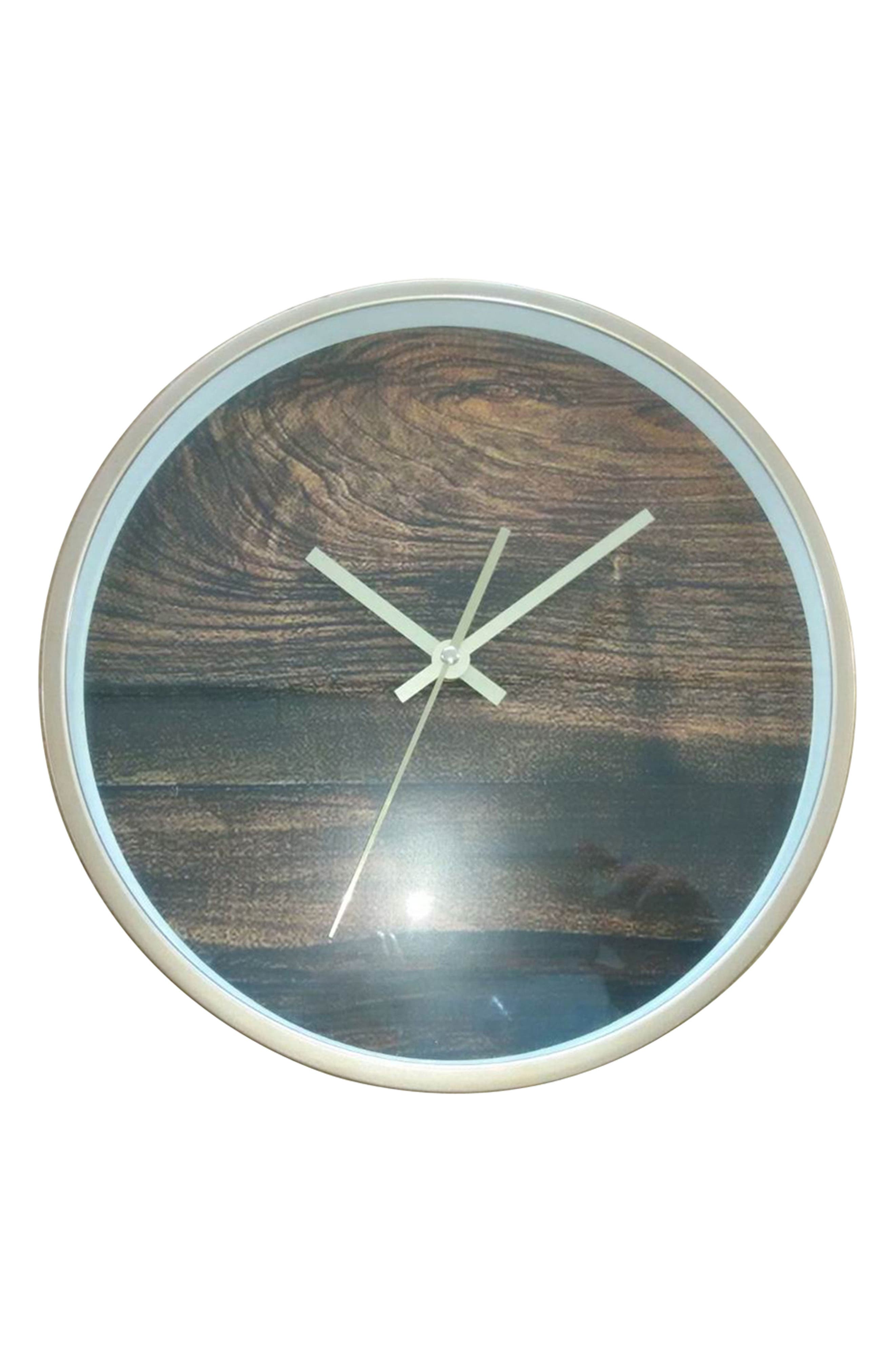Wood Print Wall Clock,                             Alternate thumbnail 2, color,                             200