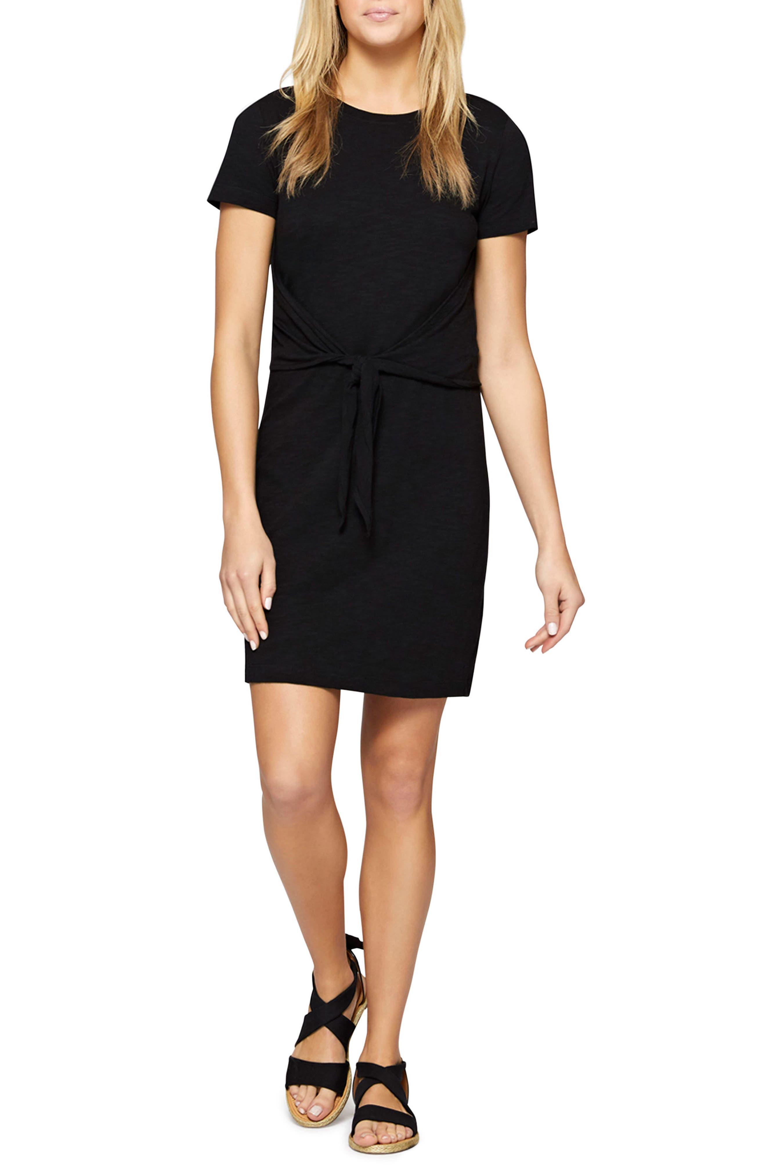 Juno Tie Waist T-Shirt Dress,                             Main thumbnail 1, color,                             001