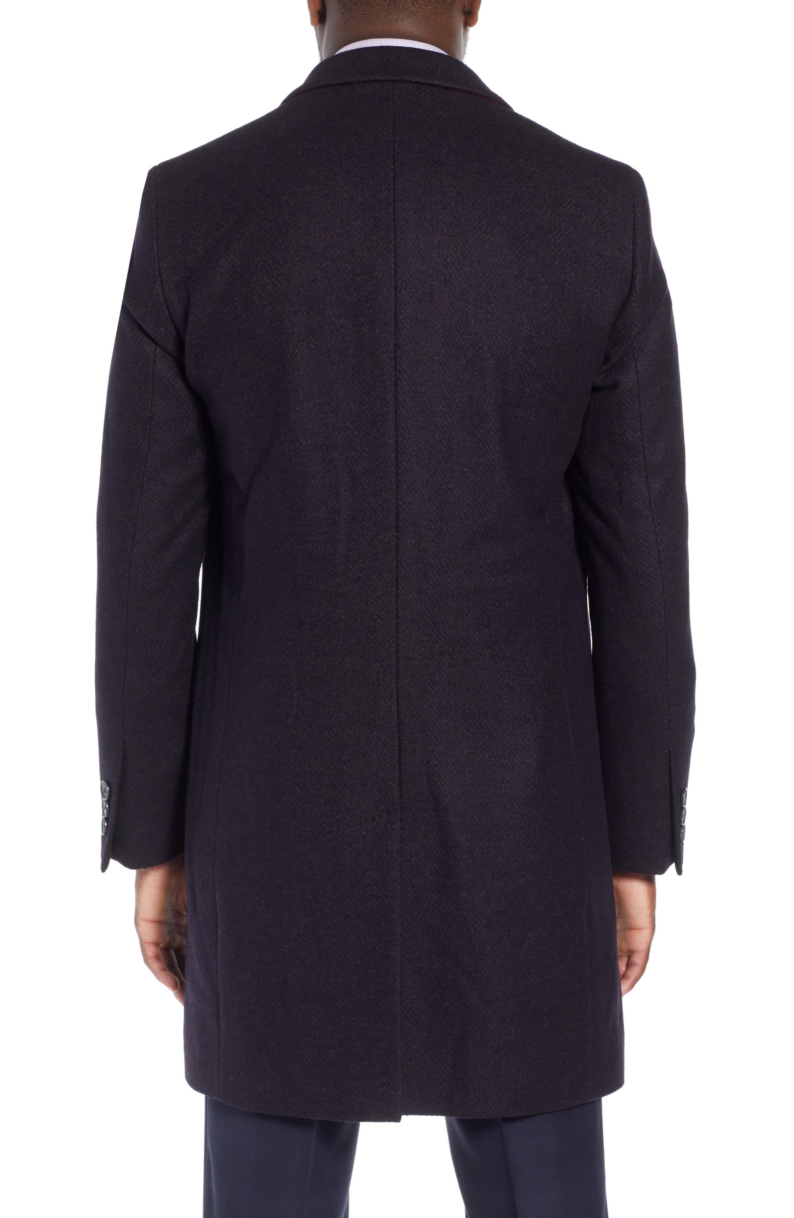 x Nordstrom Nye Wool Blend Top Coat,                             Alternate thumbnail 2, color,                             DARK RED