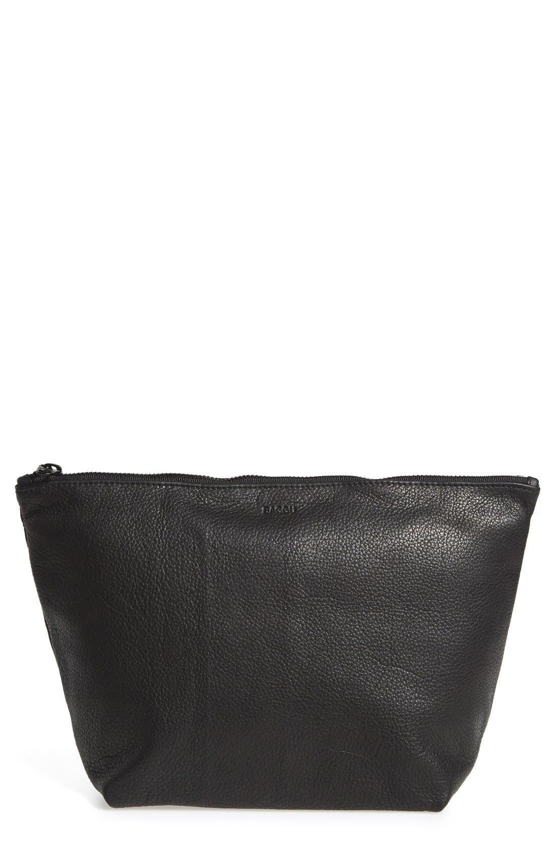Large Leather Zip Pouch,                             Main thumbnail 1, color,                             001