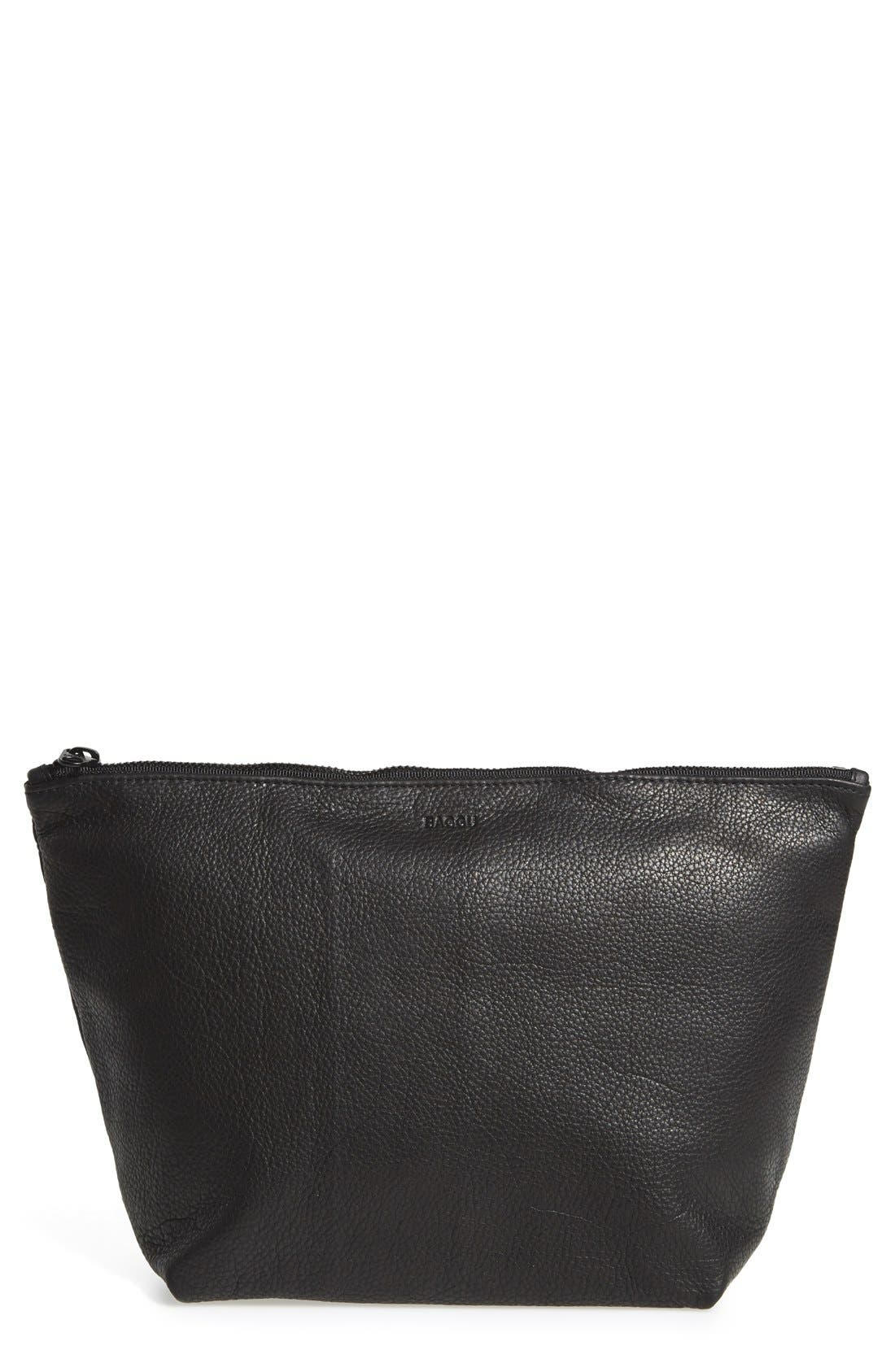 Large Leather Zip Pouch, Main, color, 001