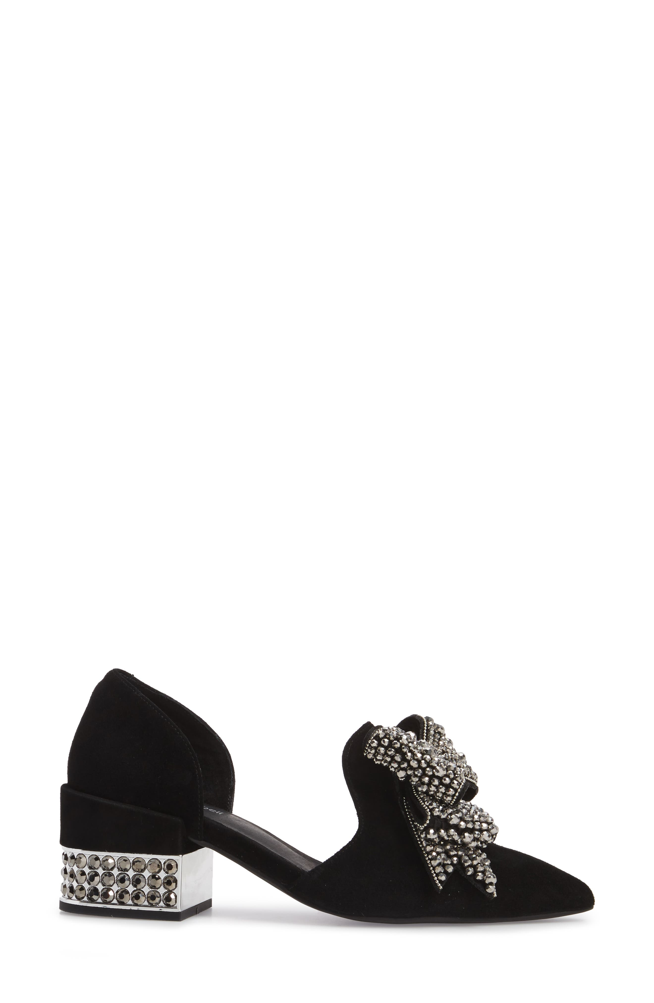 Valenti Embellished Bow Loafer,                             Alternate thumbnail 3, color,                             001