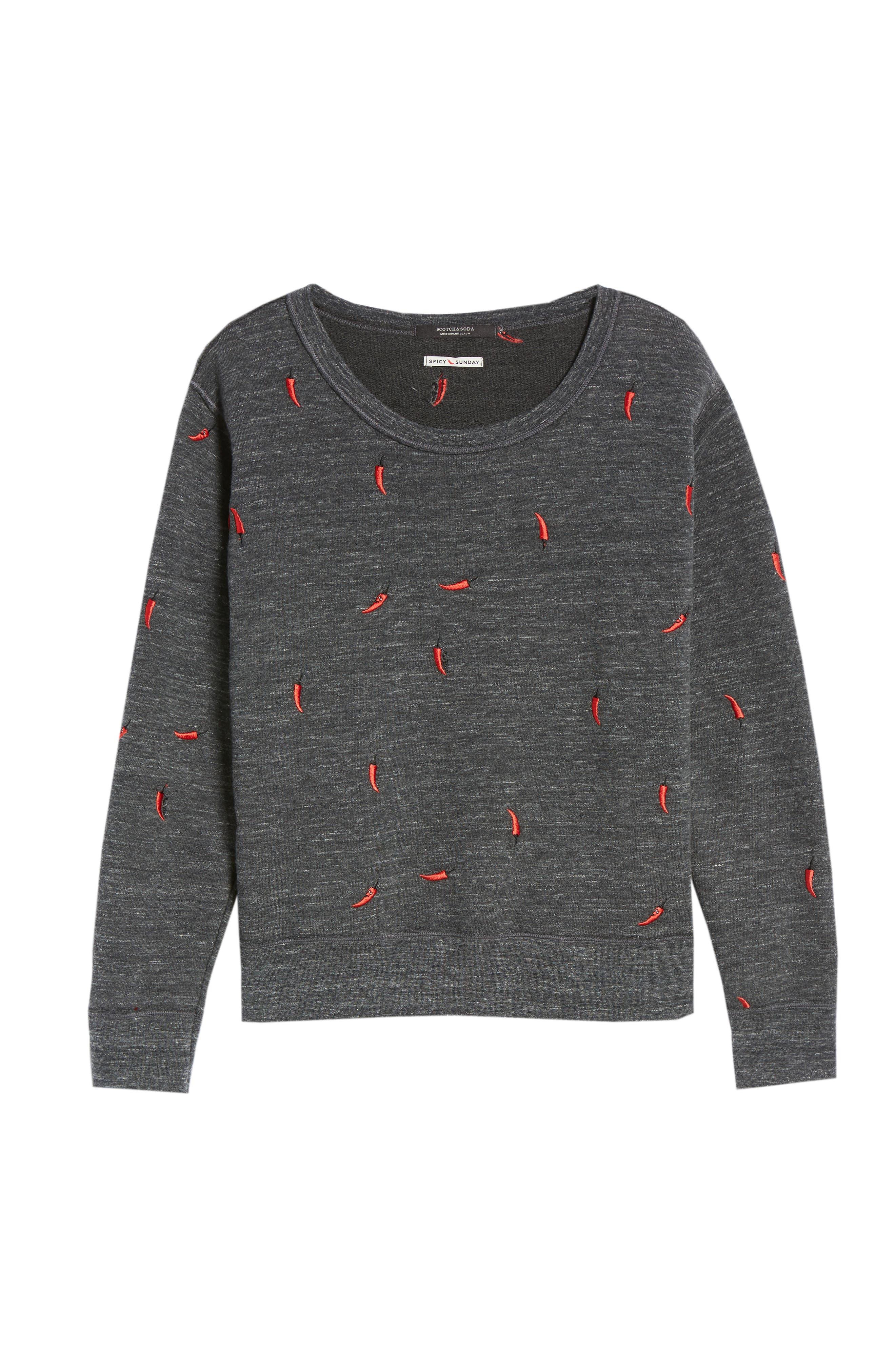 Chili Pepper Crewneck Sweatshirt,                             Alternate thumbnail 6, color,                             021