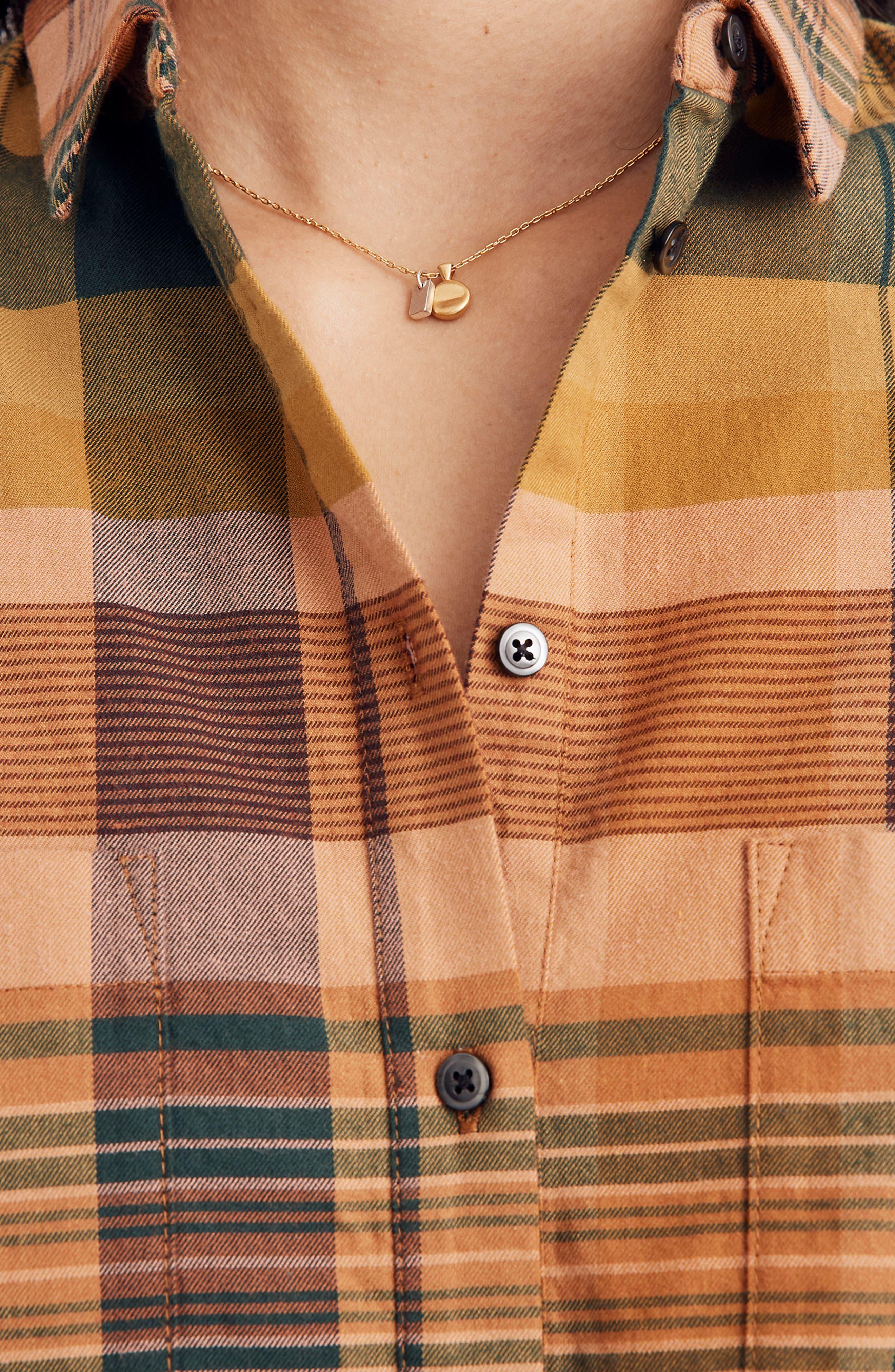 Seconda Plaid Sunday Flannel Shirt,                             Alternate thumbnail 4, color,                             EGYPTIAN GOLD