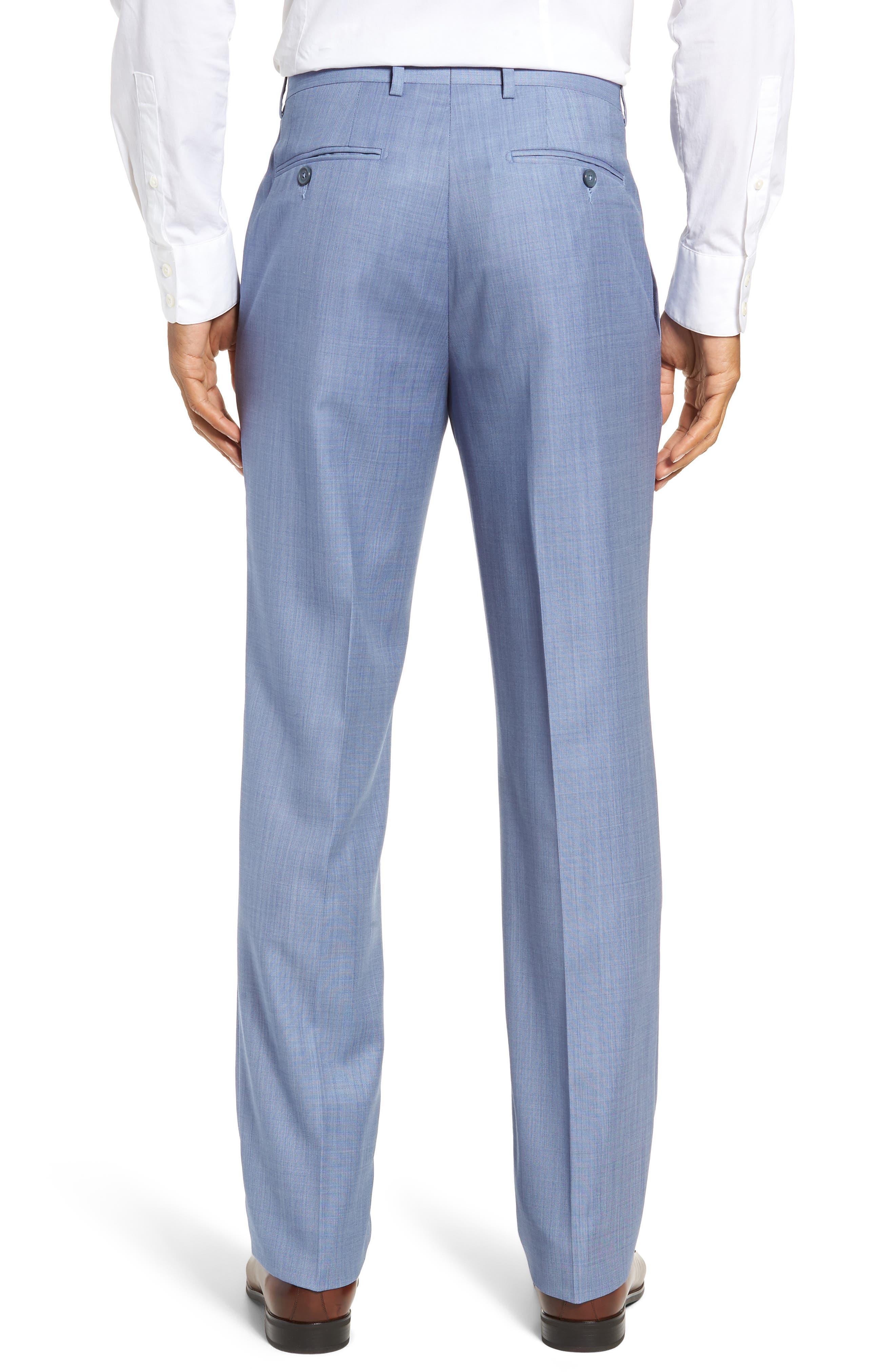Flat Front Sharkskin Wool Trousers,                             Alternate thumbnail 2, color,                             LIGHT BLUE